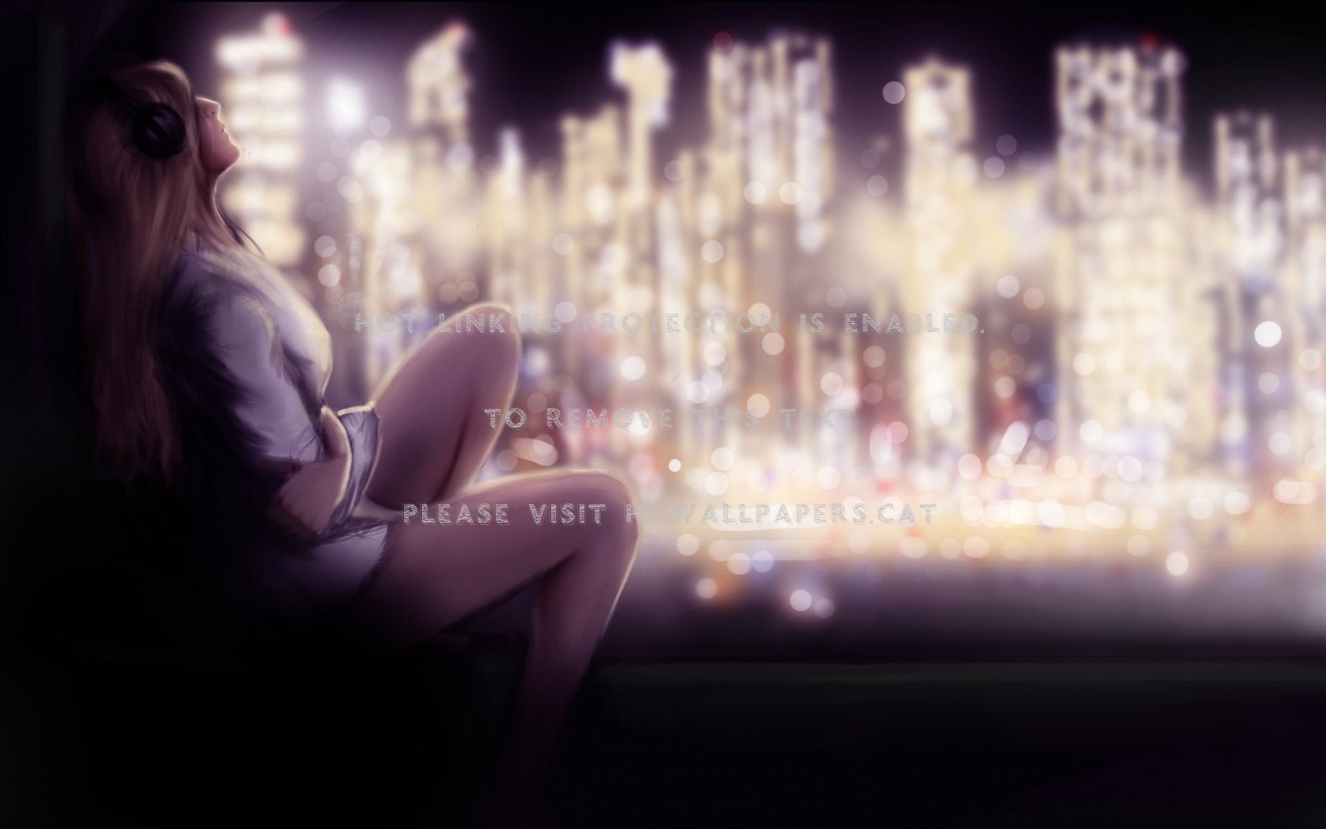 Crying Girl Sad City Anime Night Lights - Sadness Alone Girl Wallpaper Anime - HD Wallpaper