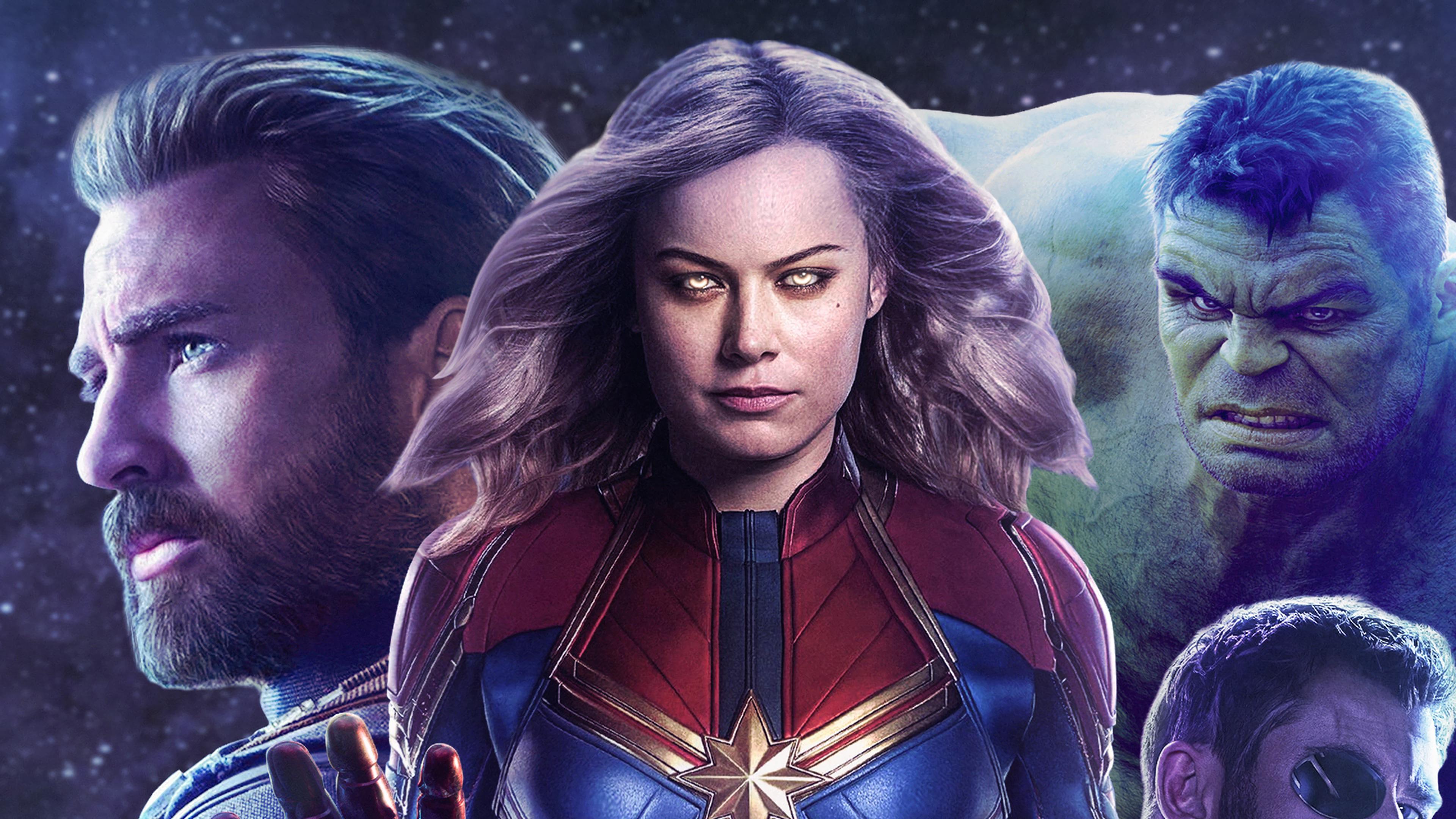 Captain Marvel Movie 2019 Hulk Captain America 4k Wallpaper - Captain Marvel Avengers Endgame - HD Wallpaper