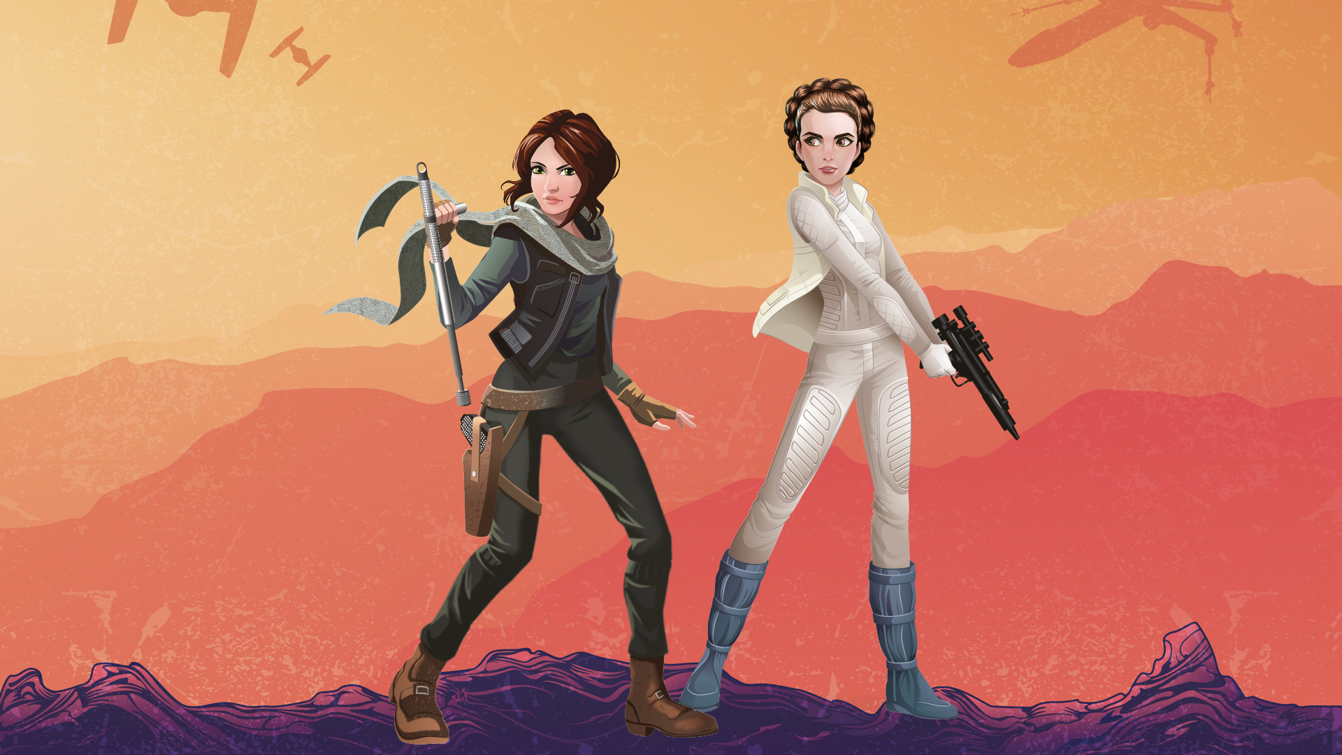 Jyn Erso And Princess Leia Star Wars Star Wars Forces Of Destiny 1920x1080 Wallpaper Teahub Io