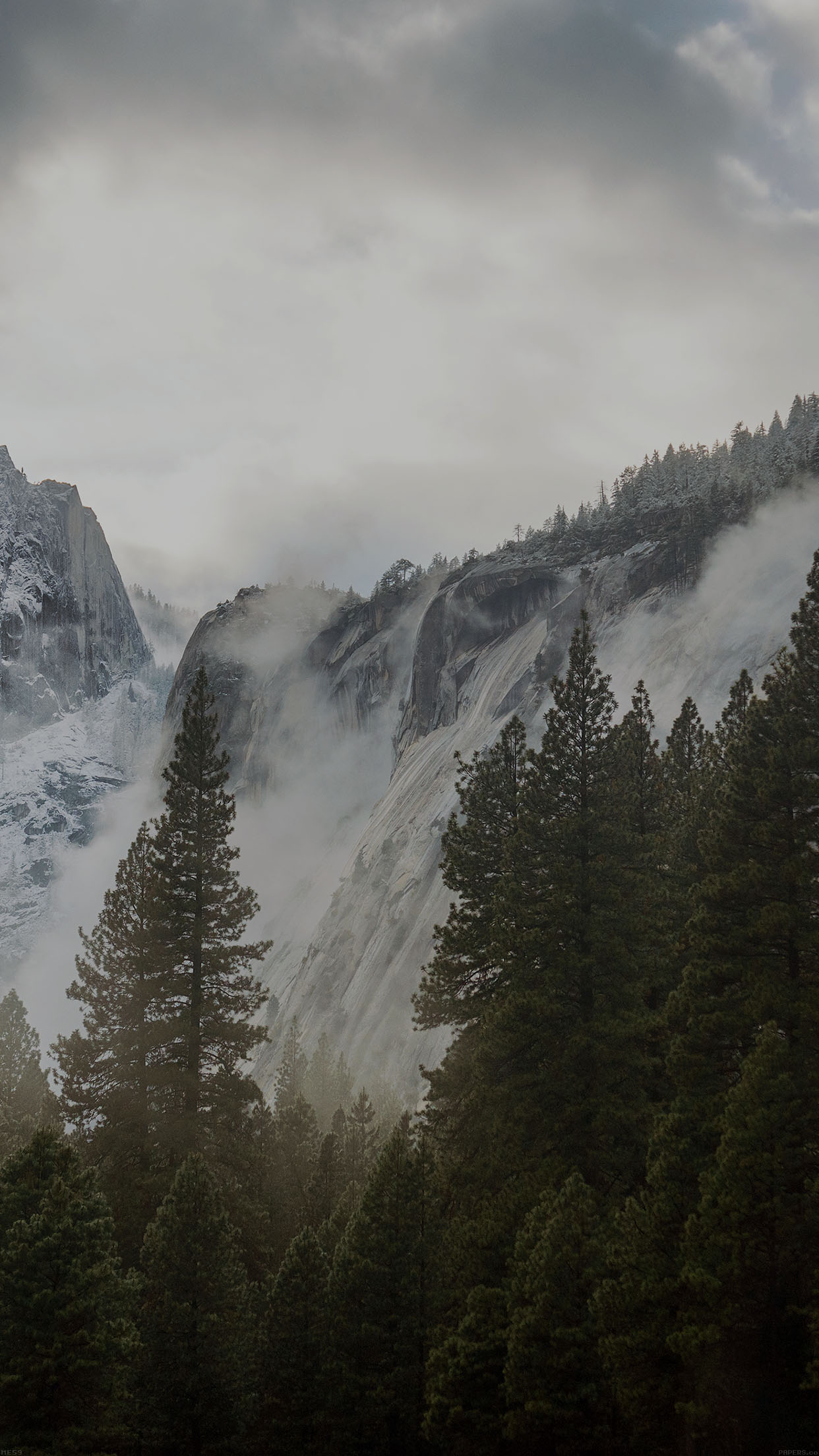 Yosemite Snow Dark Mountain Nature Android Wallpaper - Nature Wallpaper Iphone 8plus - HD Wallpaper