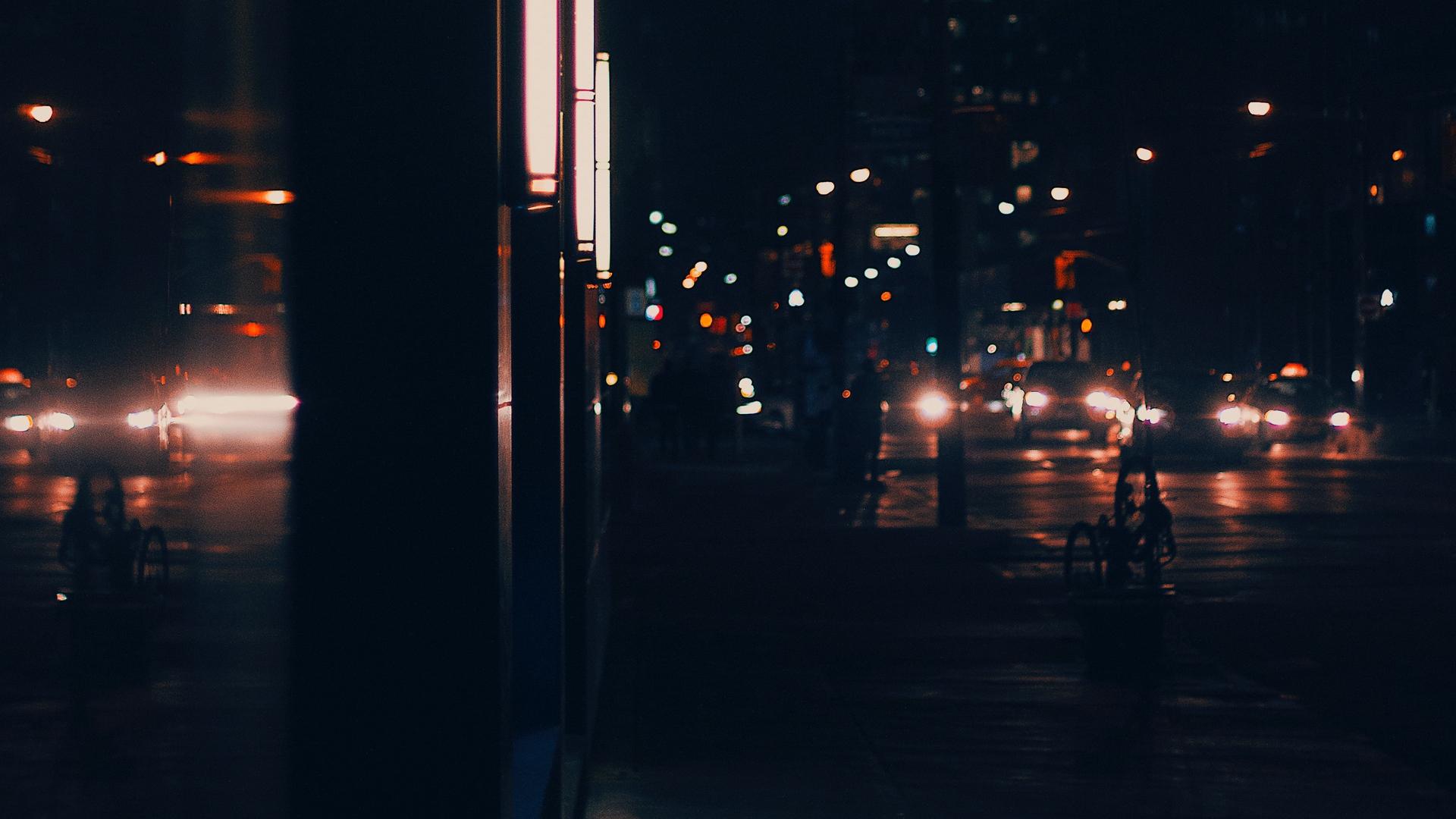 Wallpaper Night City, Street, Dark, Lights, Buildings, - Dark City Street Background - HD Wallpaper
