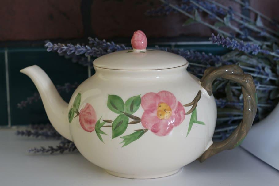 Teapot, China, Flower, Beverage, Design, Vintage, Old, - Teapot Flower Design - HD Wallpaper