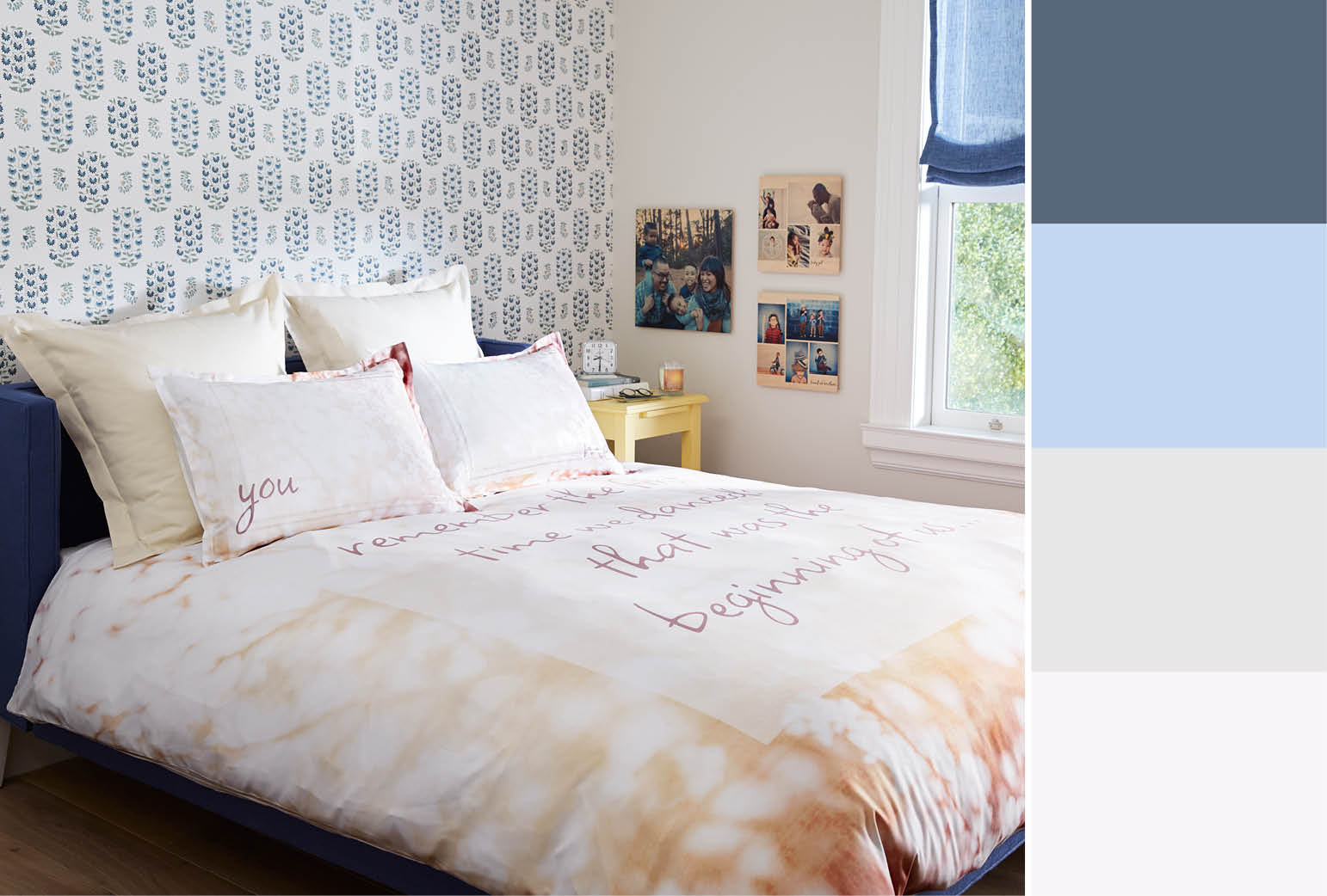 Blue Patterned Wallpaper - My Bedroom View With Quotes Of Music - HD Wallpaper