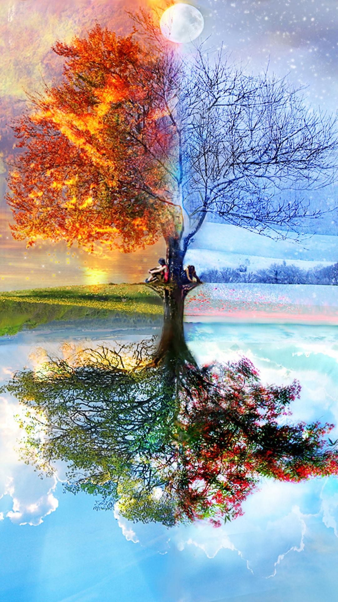 1080x1920, Winter Iphone Wallpaper Iphone 6 Plus Four - Half Dead Half Alive Tree Painting - HD Wallpaper