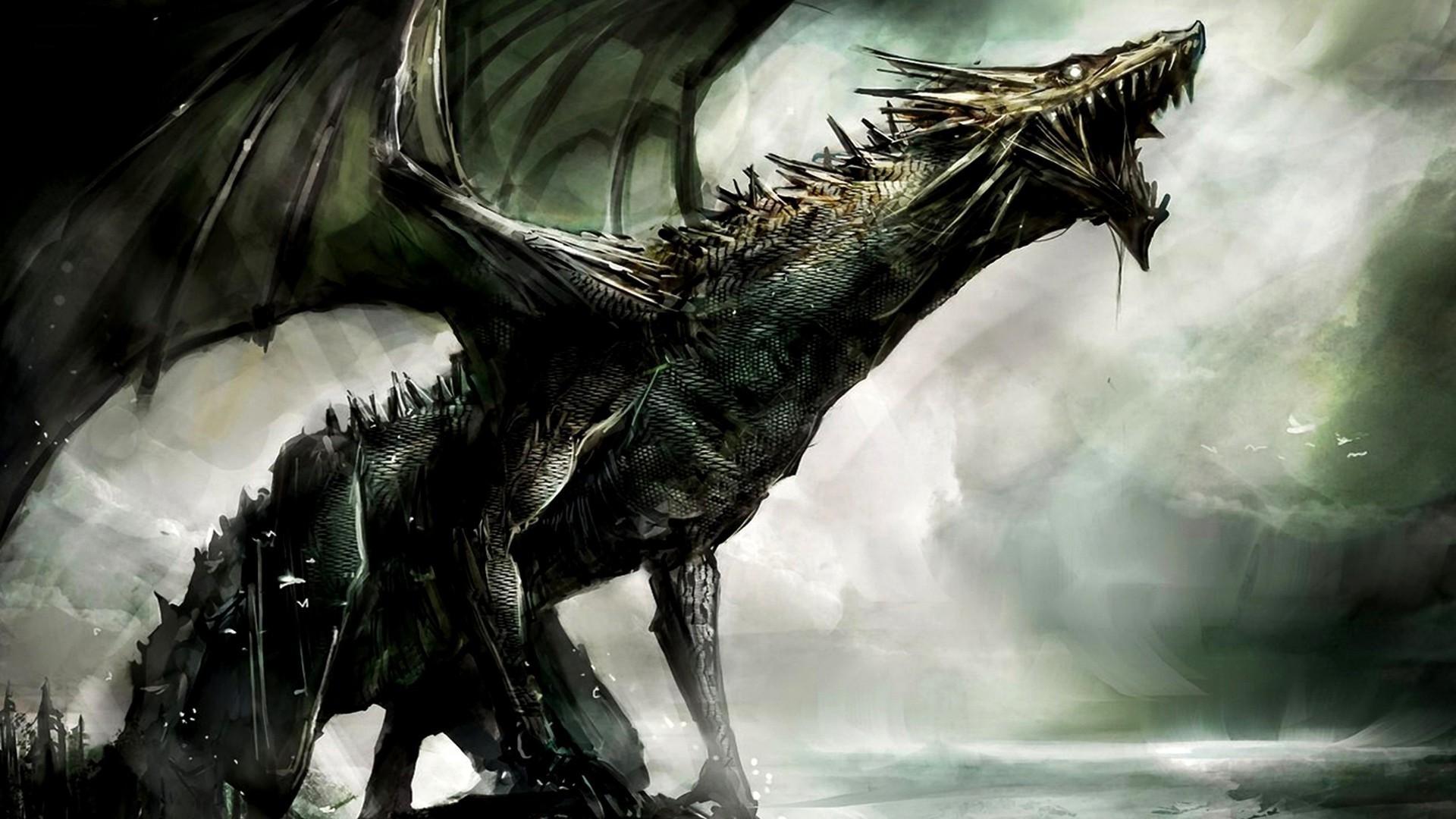 Dark Dragon Fantasy Art - HD Wallpaper