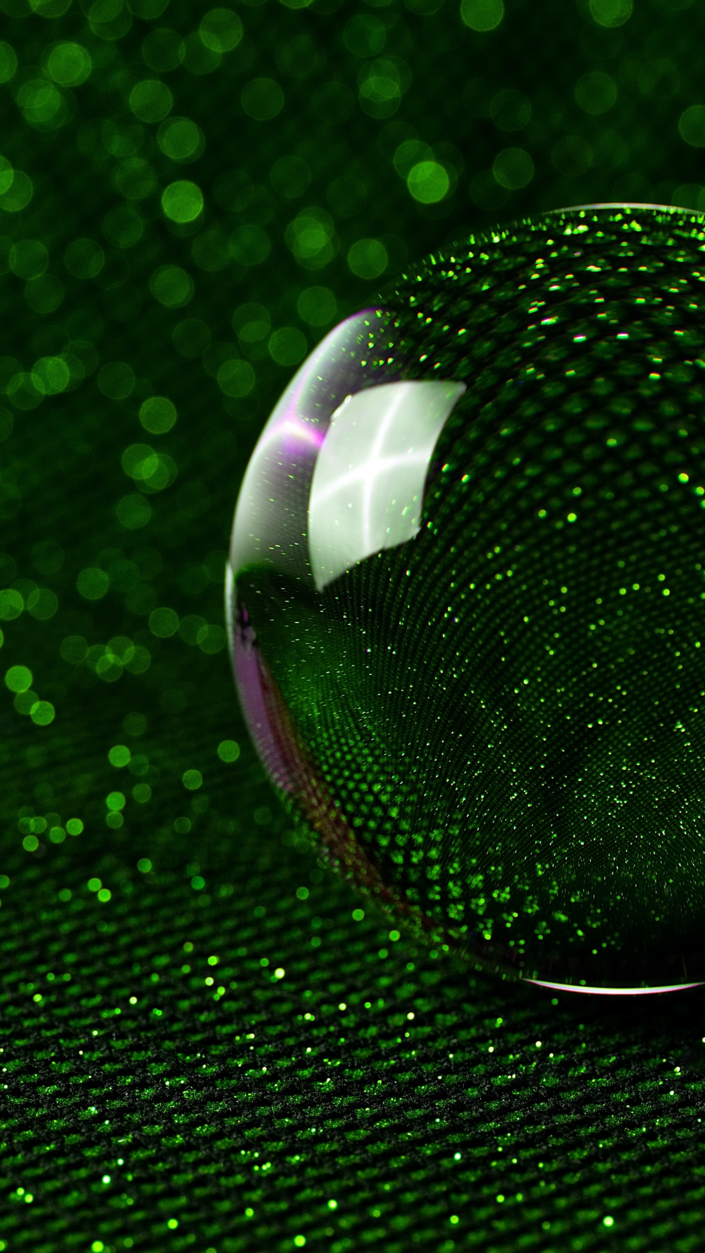 Sphere 3d Glass Ball Green Glitter Wallpaper Samsung S7 Edge 3d 1440x2560 Wallpaper Teahub Io
