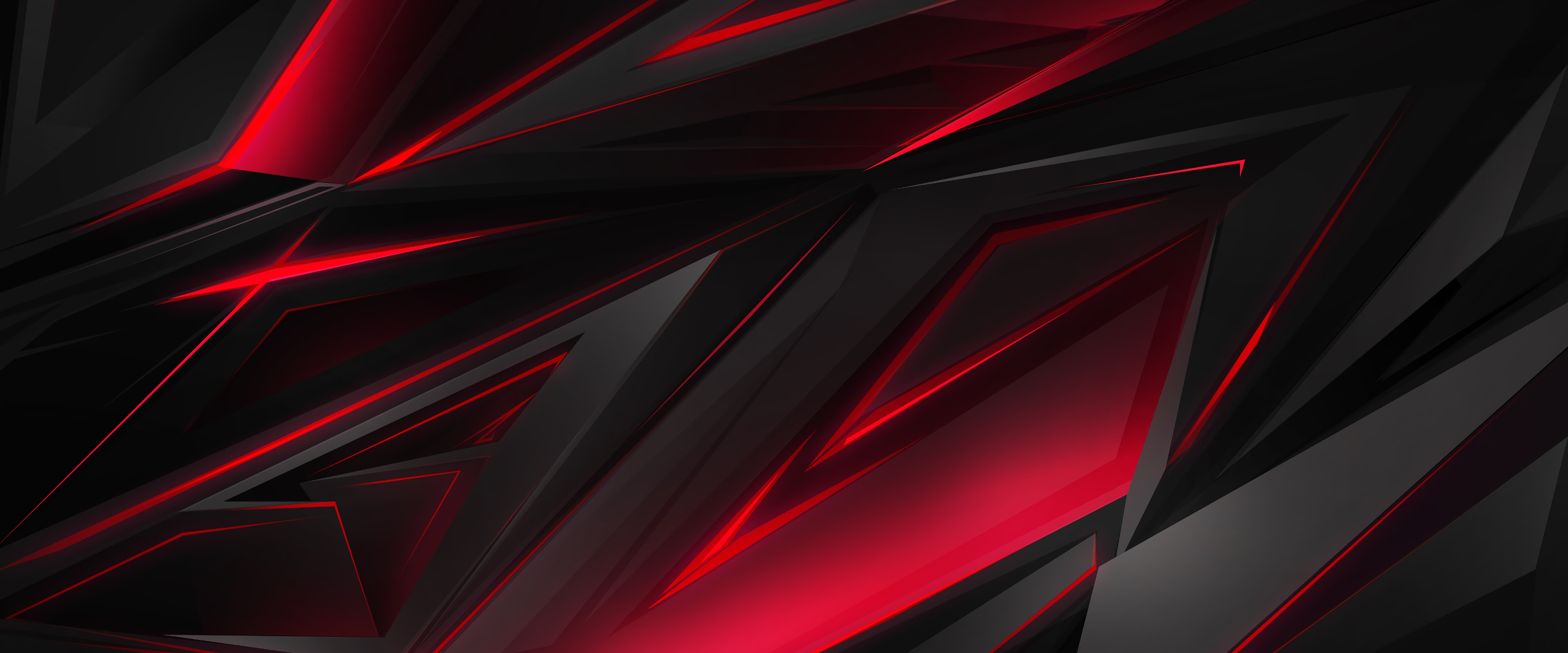 Black, Red, Abstract, Polygon, 3d, 4k, - Red Gaming ...