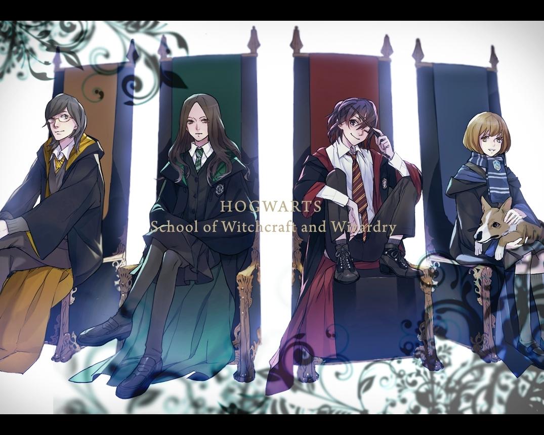 Houses Dogs Harry Potter Hufflepuff Gryffindor Hogwarts - Harry Potter Houses Anime - HD Wallpaper