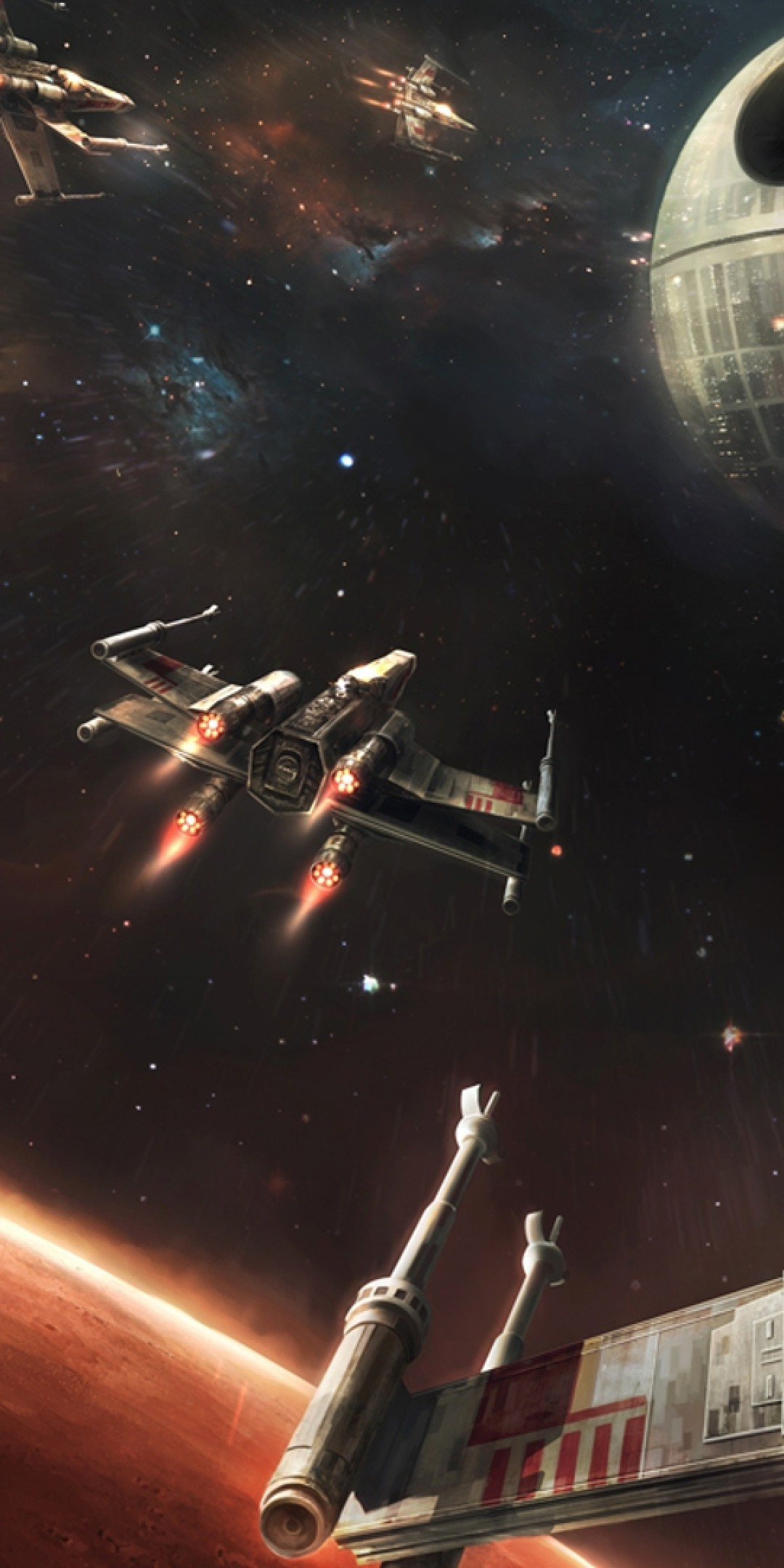 Star Wars Death Star X Wing Galaxy Planet Star Wars X Wing Wallpaper Iphone 1080x2160 Wallpaper Teahub Io
