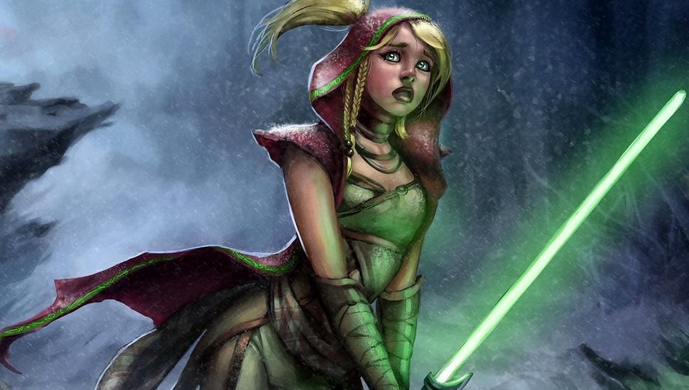Girl Lightsaber The Rain Star Wars Jedi Desktop Female Jedi Green Lightsaber 970x550 Wallpaper Teahub Io
