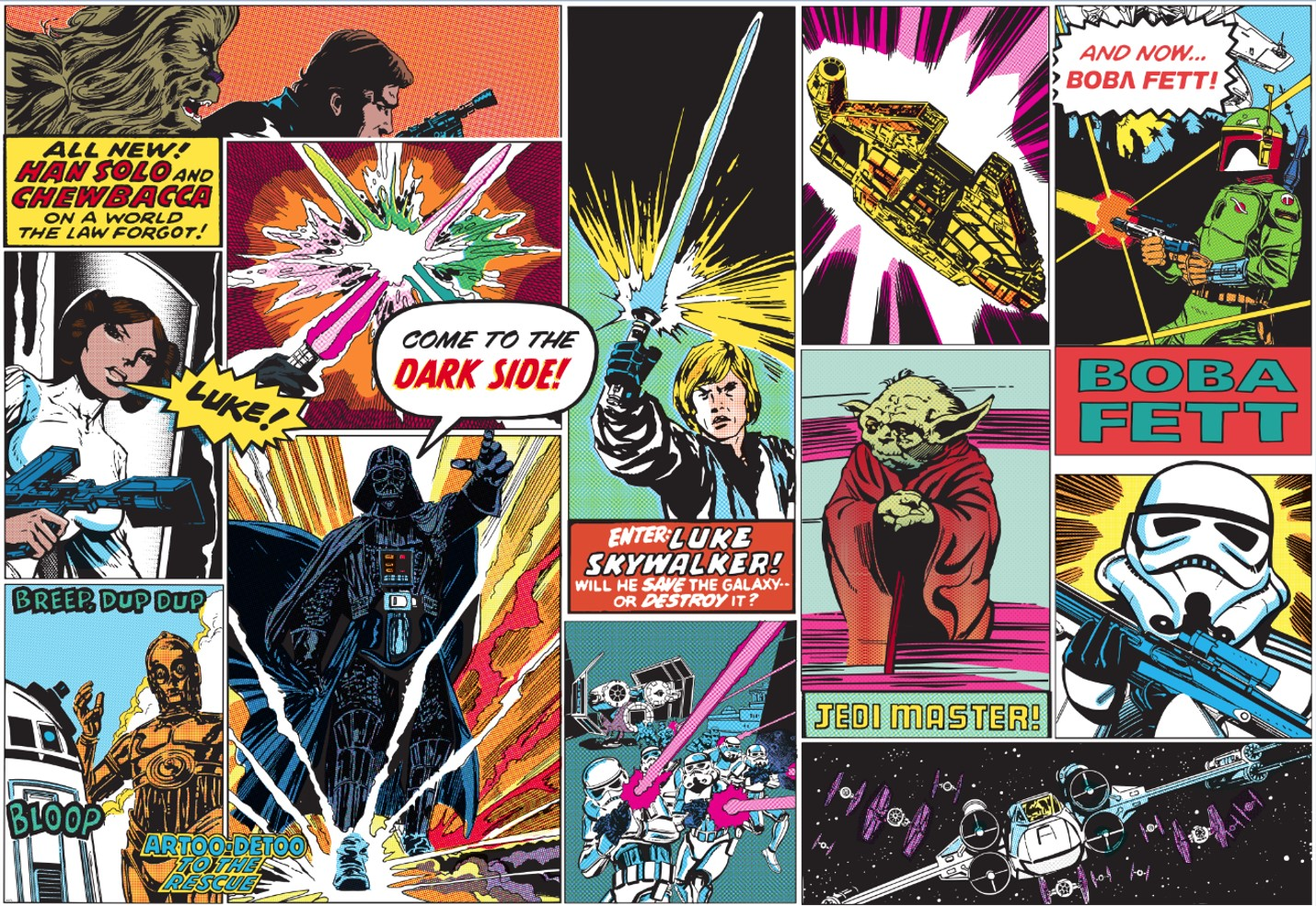 Star Wars Mural Wallpaper Star Wars Comic Mural Usa 1430x985 Wallpaper Teahub Io