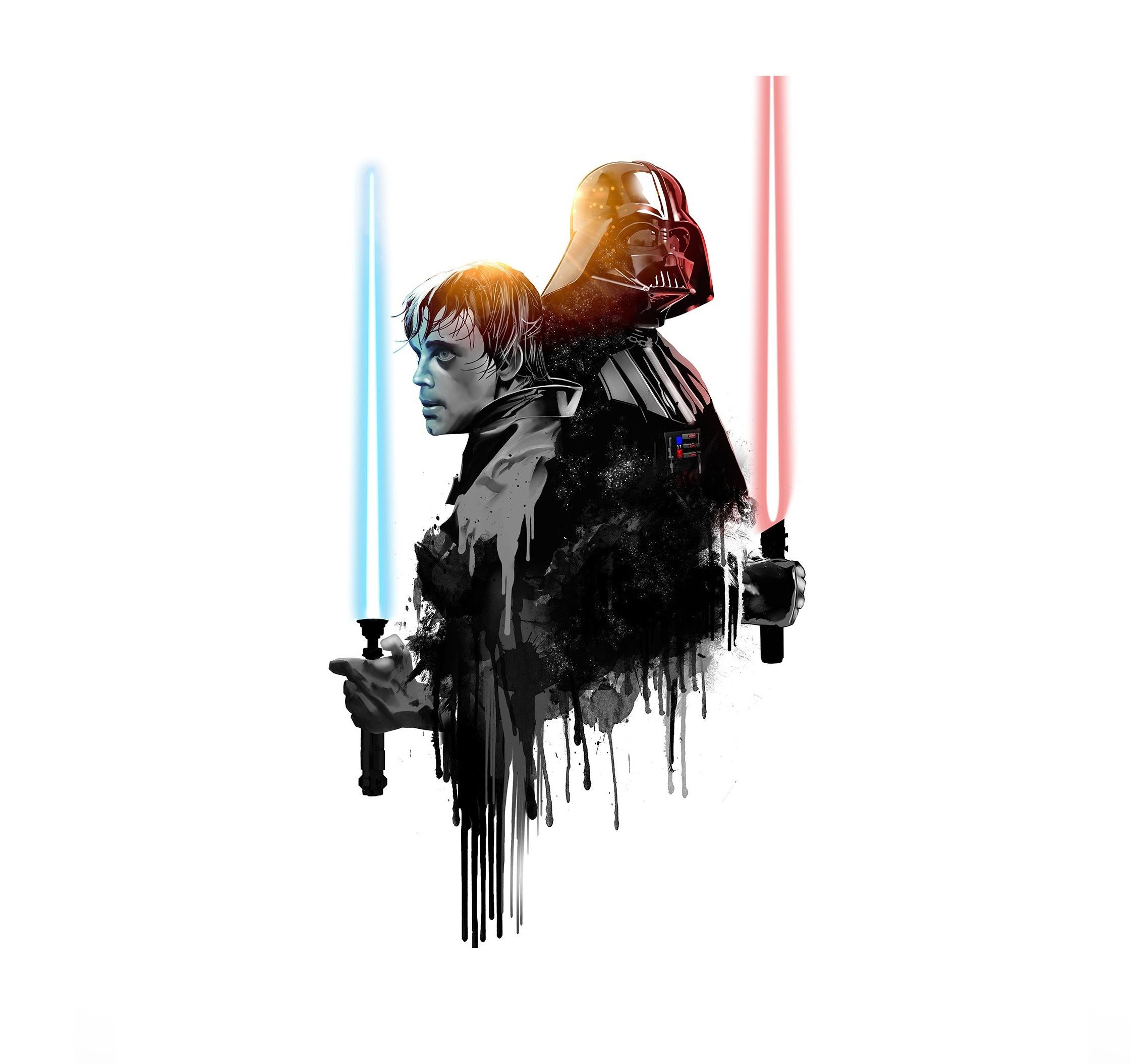 Darth Vader Luke Skywalker Star Wars Minimal Wallpaper Star Wars Wallpaper Darth Vader 2248x2108 Wallpaper Teahub Io