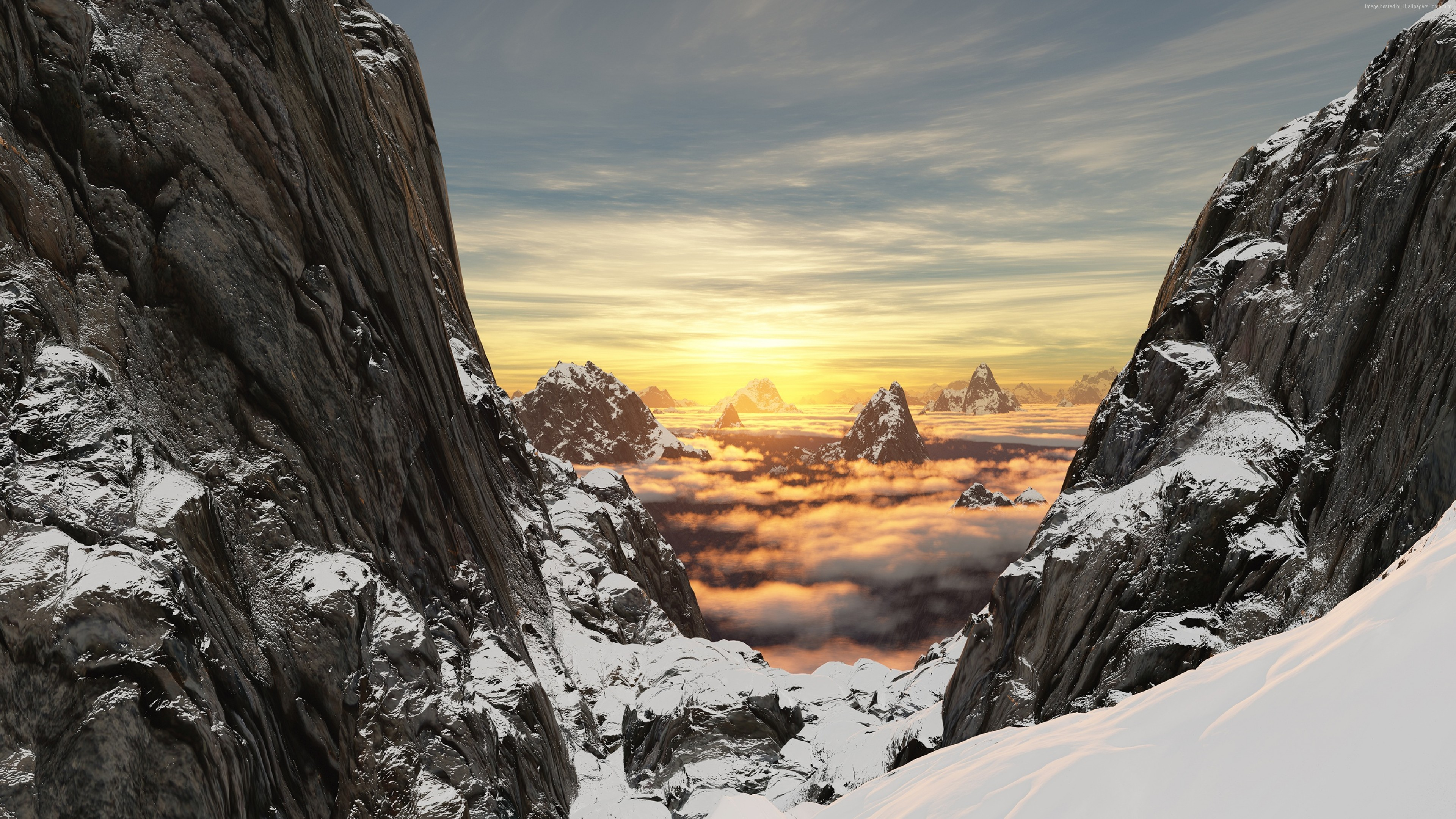 Wallpaper Mountain Snow Rock High Altitude 4k Nature 4k Mountain And Clouds 3840x2160 Wallpaper Teahub Io