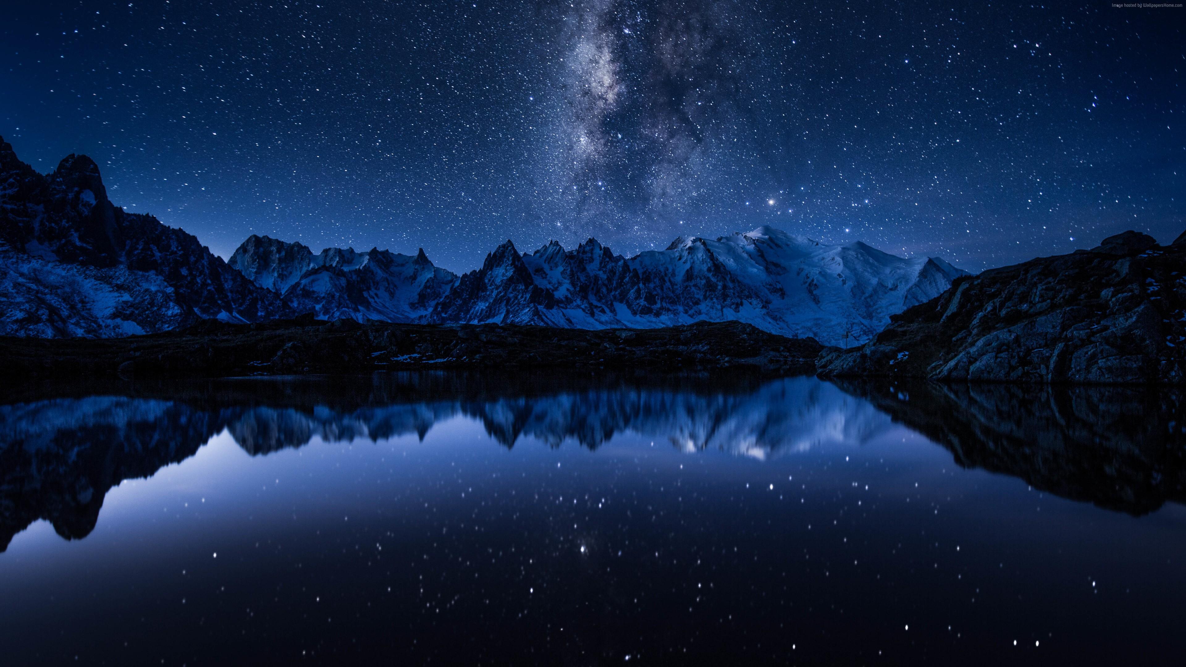 Wallpaper Stars Mountains Lake 5k Space Space Wallpaper 4k Pc 3840x2160 Wallpaper Teahub Io