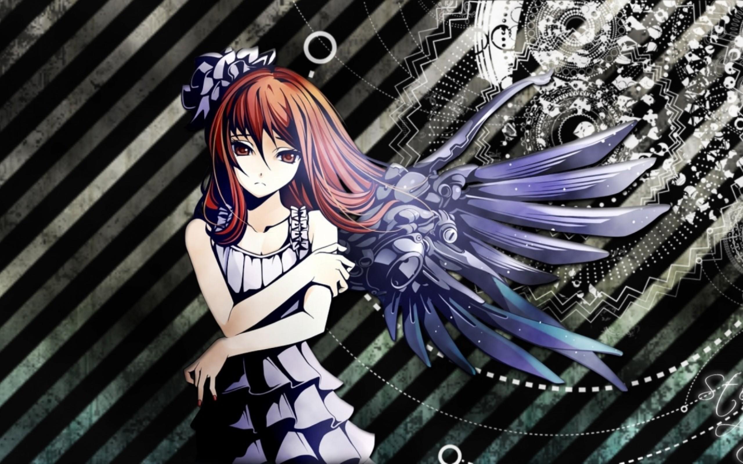 2560x1600, Anime Girl Mechanical Wings Wallpaper   - Anime Girl With Mechanical Wings - HD Wallpaper