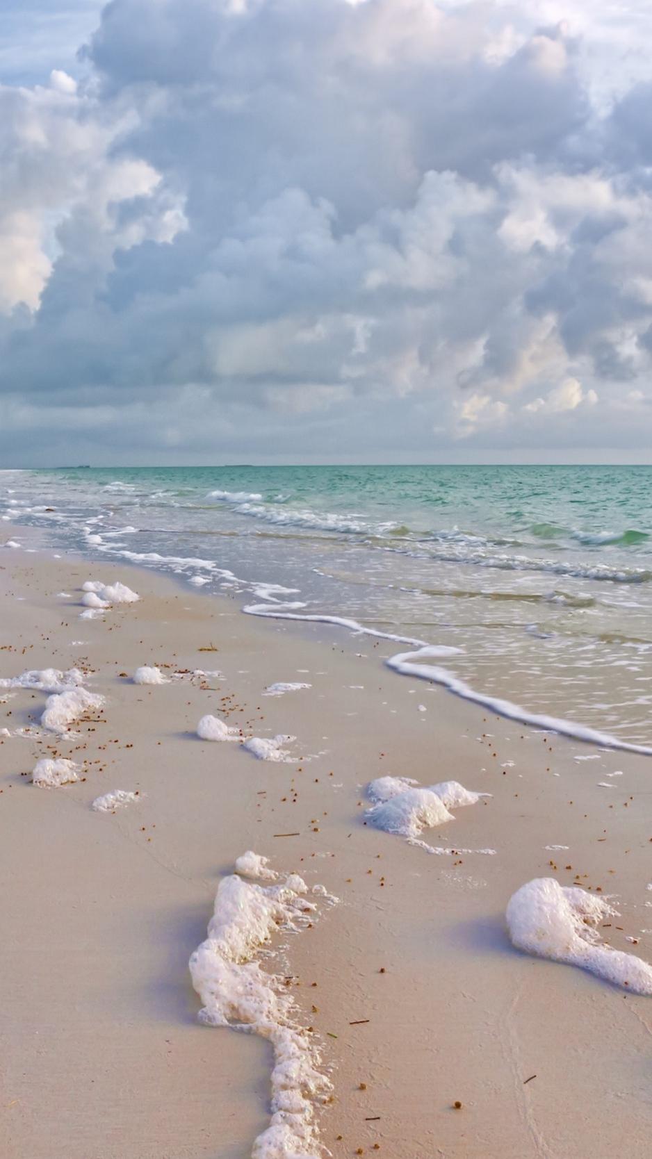 Wallpaper Foam Sea Sand Wet Clouds Surf Whisper Fond D Ecran Iphone Plage 938x1668 Wallpaper Teahub Io