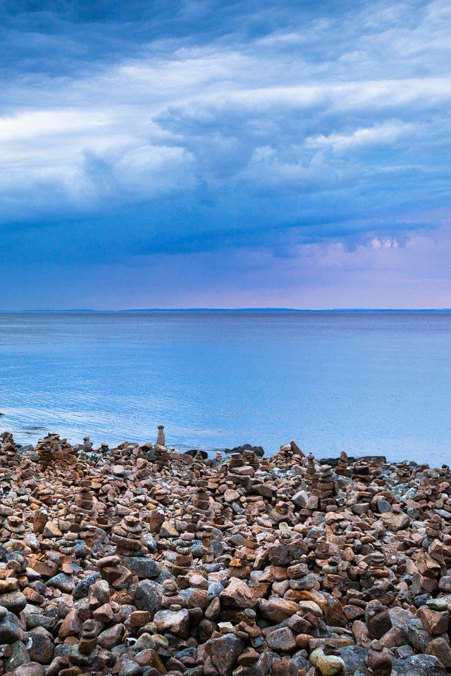 Rock Stone Beside Sea Iphone Wallpaper - Nature Art Original Landscape Paintings - HD Wallpaper
