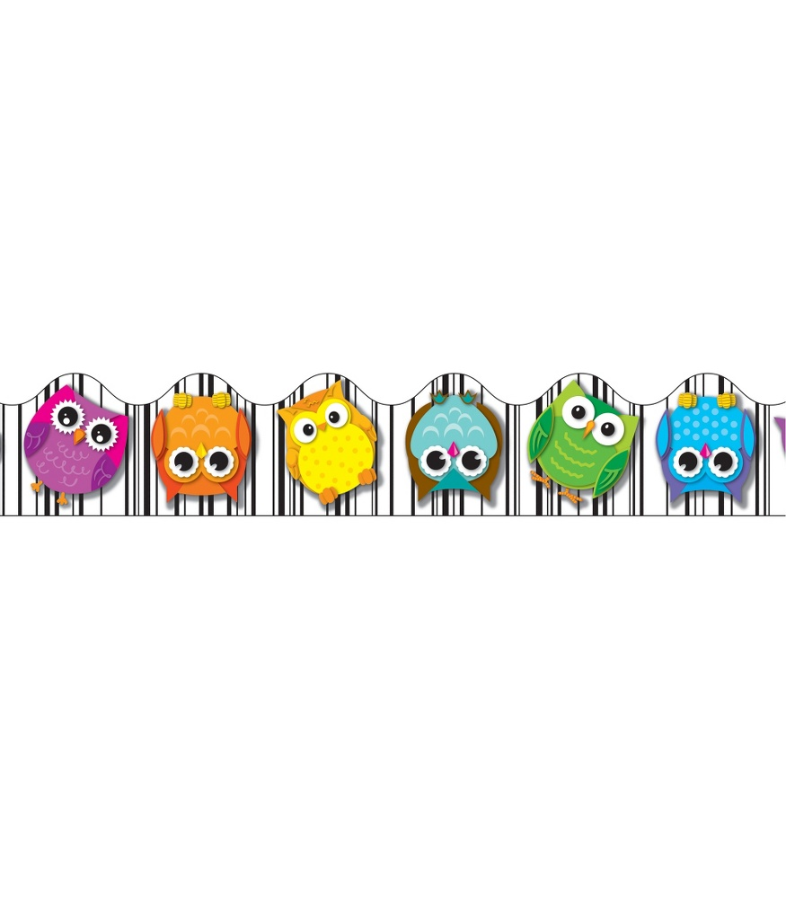 Colorful Owls Scalloped Borders - Colorful Owls Scalloped Border - HD Wallpaper