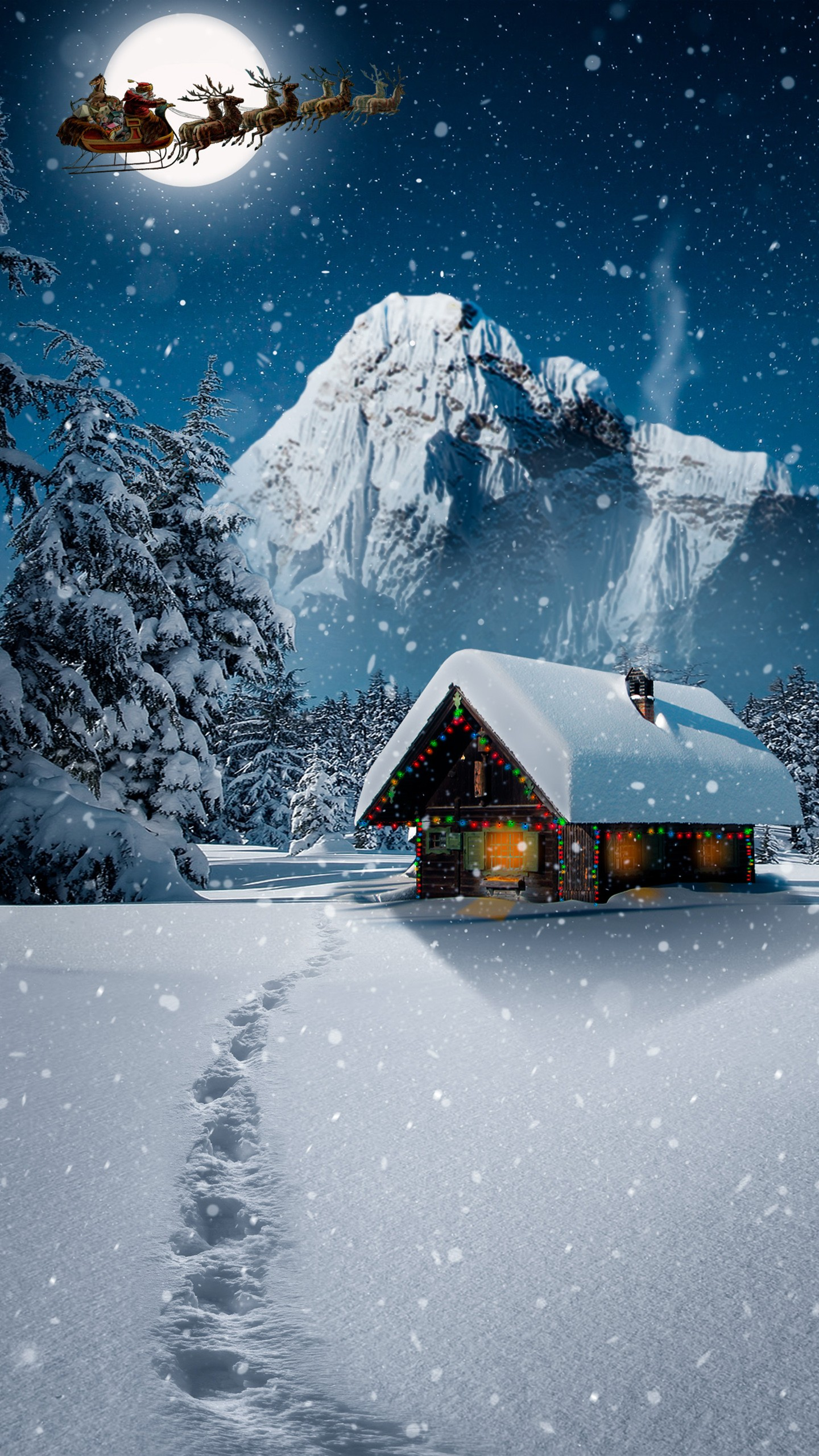 Christmas Landscape Wallpaper Hd 1440x2560 Wallpaper Teahub Io