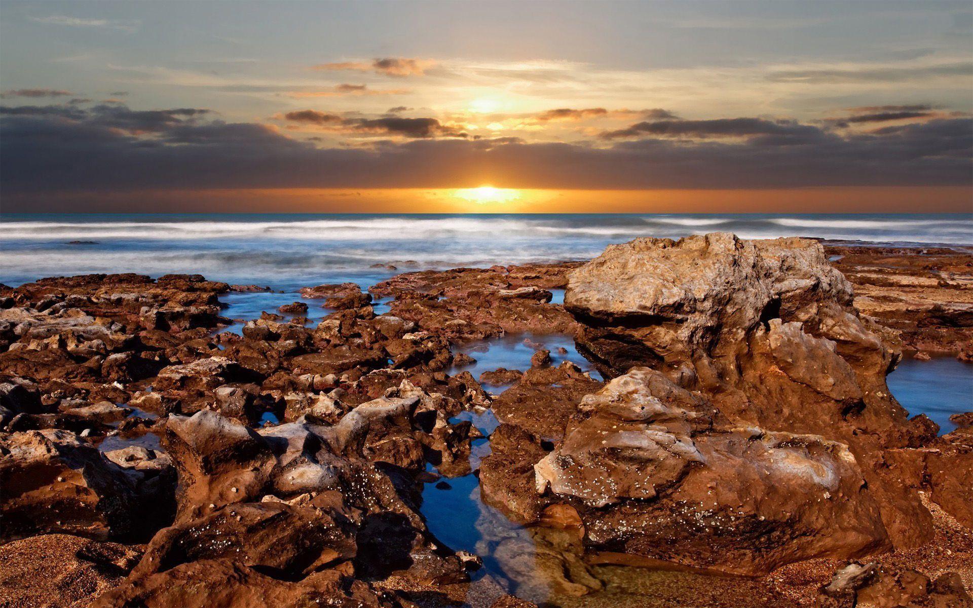 Rocky Beach 003 Wallpaper - Oil Paintings Art Landscape Nature - HD Wallpaper