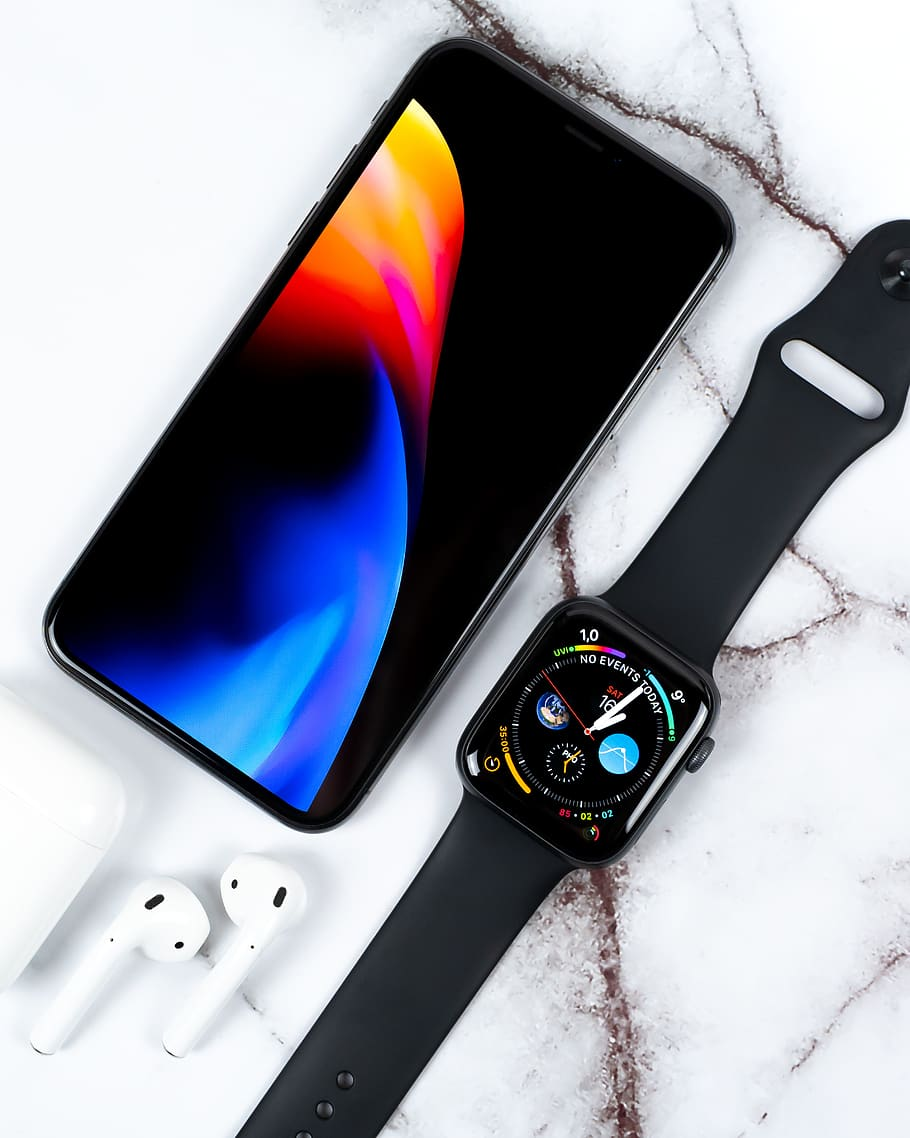 Black Aluminum Case Apple Watch With Black Sport Band - Airpods Iphone 11 Apple Watch - HD Wallpaper