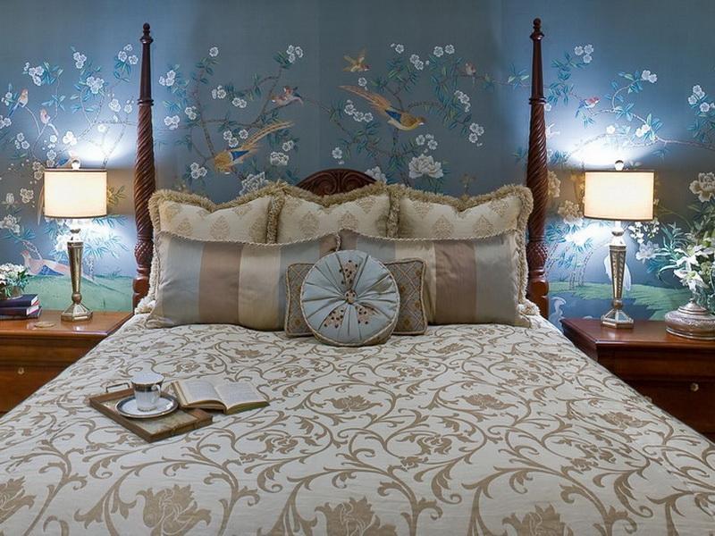 Bedroom Romantic Blue Master Bedroom Ideas Beautiful - Mural Designs For Room Wall - HD Wallpaper