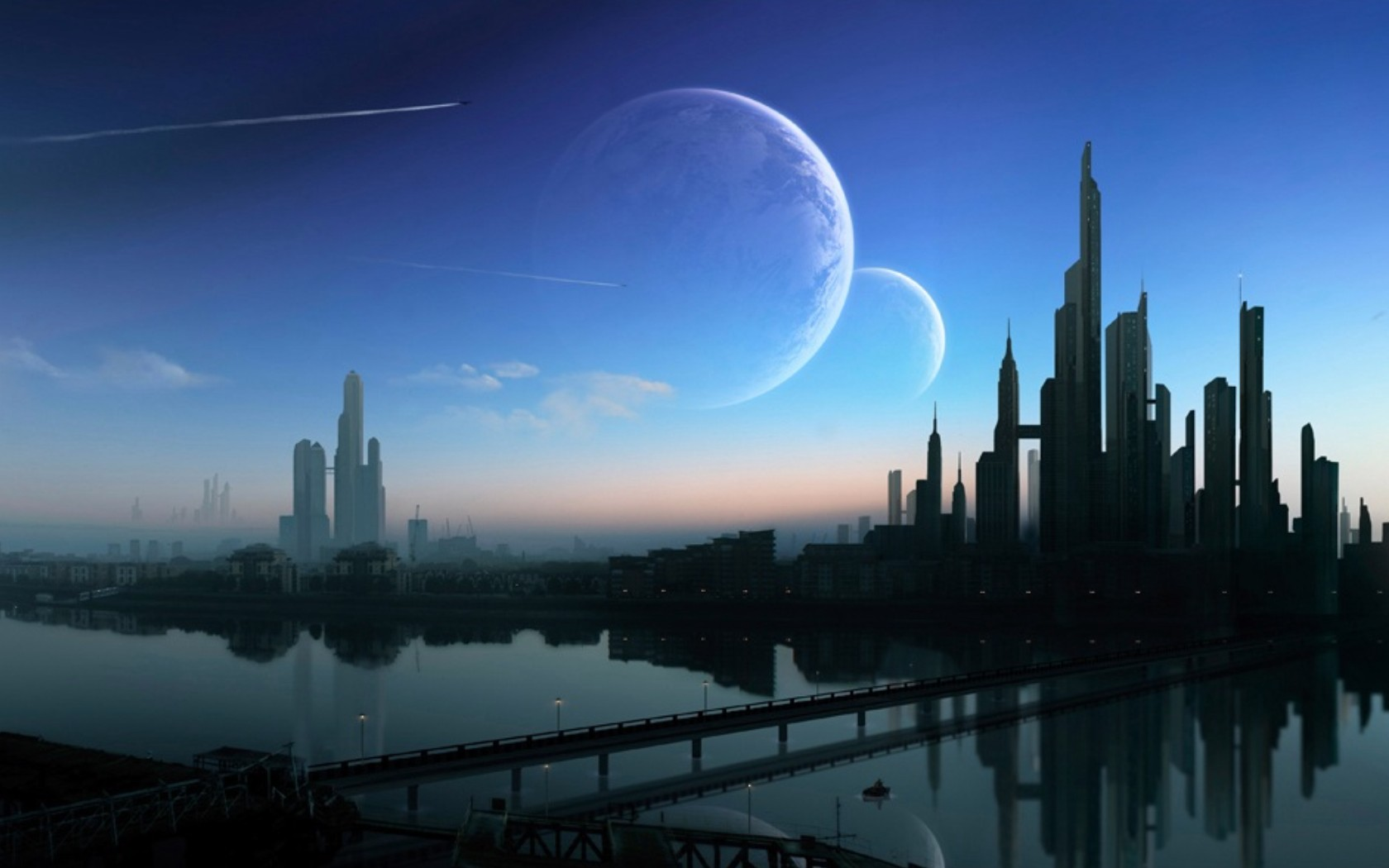 Futuristic City With Planets - HD Wallpaper