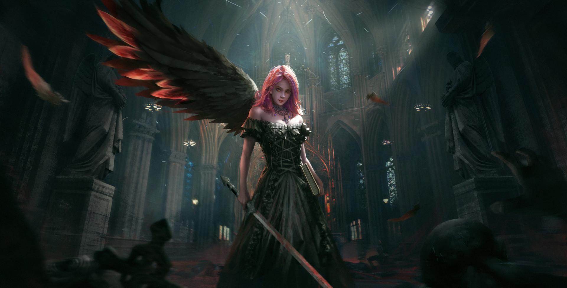 Fantasy Dark Angel Girl - HD Wallpaper