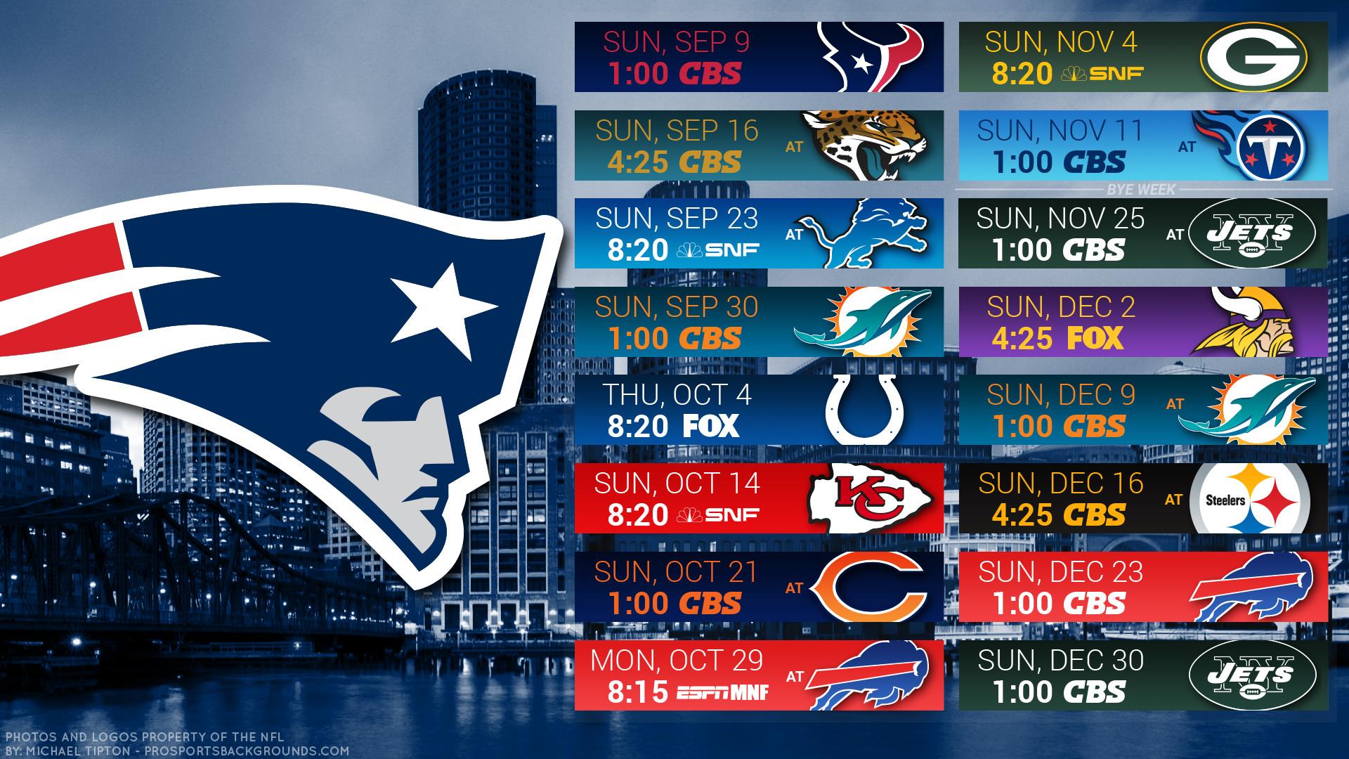 New England Patriots 2018 Schedule City Logo Wallpaper - New England Patriots Schedule 2018 - HD Wallpaper