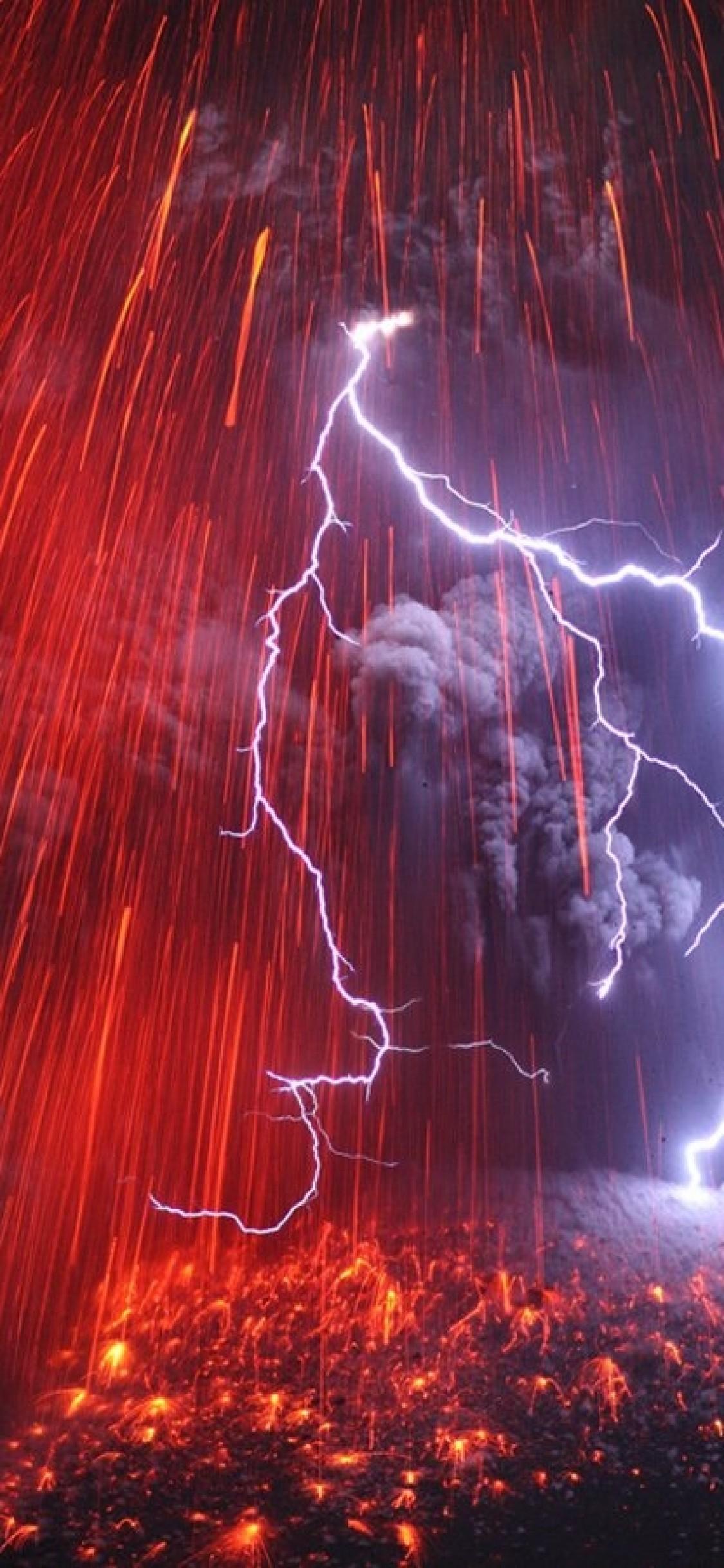 Volcano Lightning Volcano Lightning Wallpaper Hd Iphone 1125x2436 Wallpaper Teahub Io