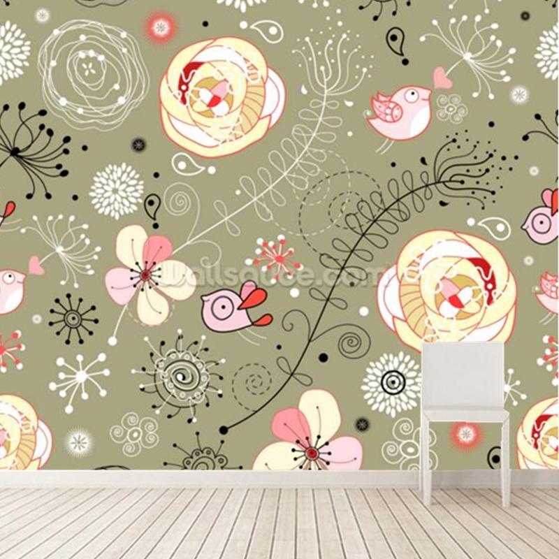 Background Bunga Bunga Kartun - HD Wallpaper