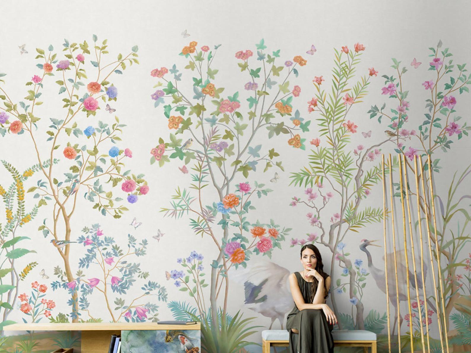 Hand Painted Wall Murals Flowers - HD Wallpaper