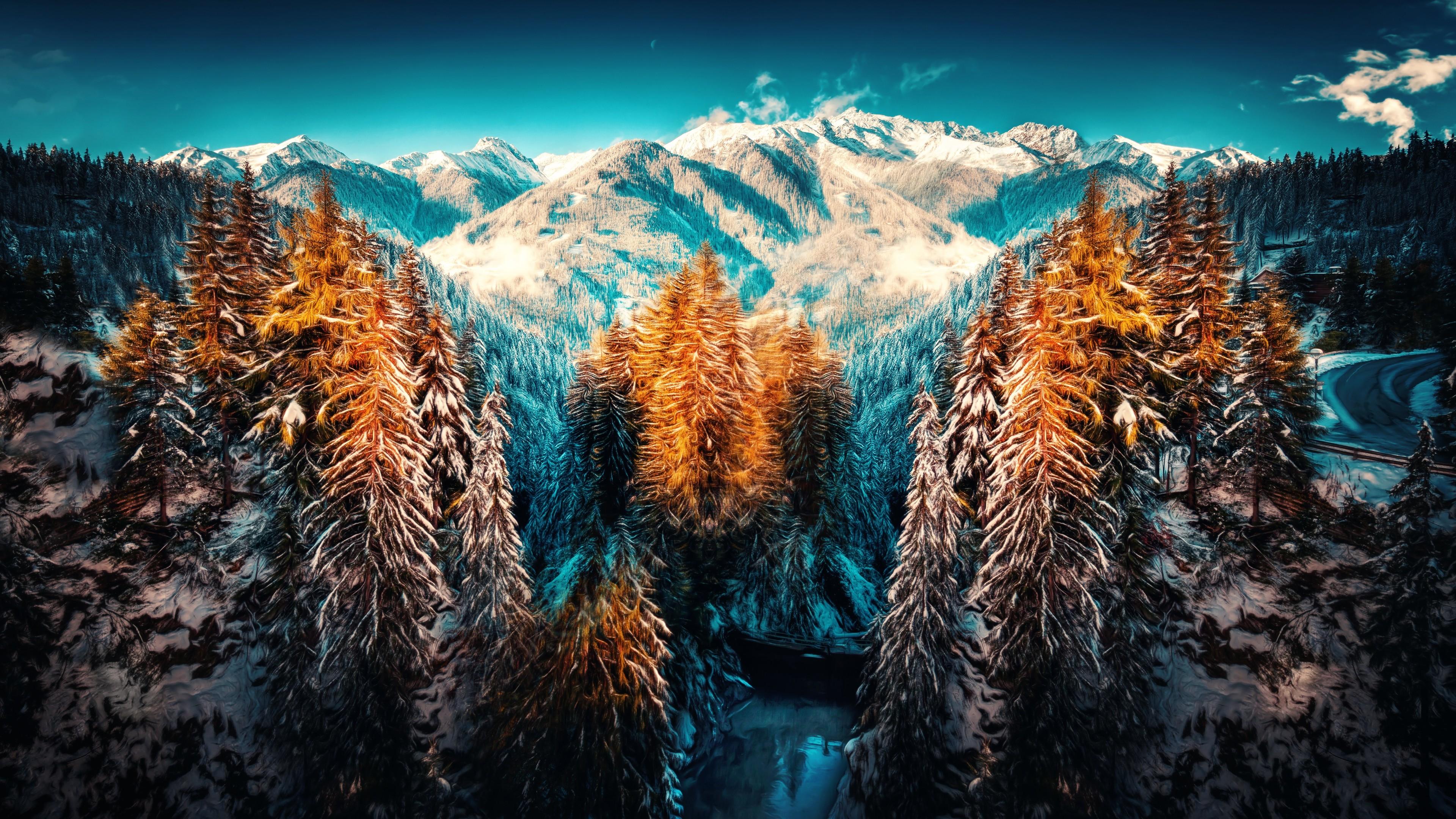 Snow Landscape Mountains Trees Forest 4k Hd Landscape Desktop Backgrounds 3840x2160 Wallpaper Teahub Io