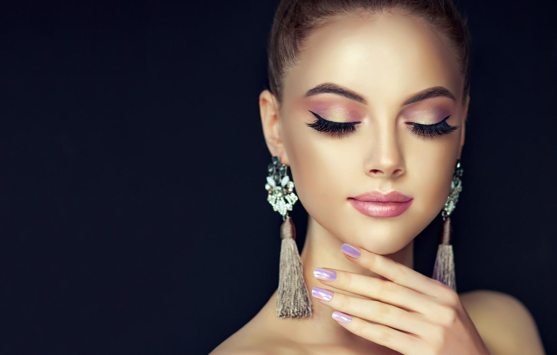 Photo Wallpaper Girl, Face, Style, Hand, Portrait, - Beauty Girl Black Background - HD Wallpaper