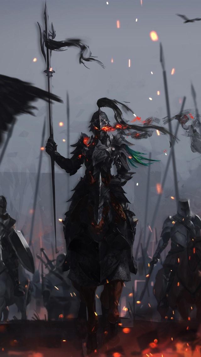 Iphone Wallpaper Warriors, Armor, Knight, War, Art - Fantasy Dark Knight Art - HD Wallpaper