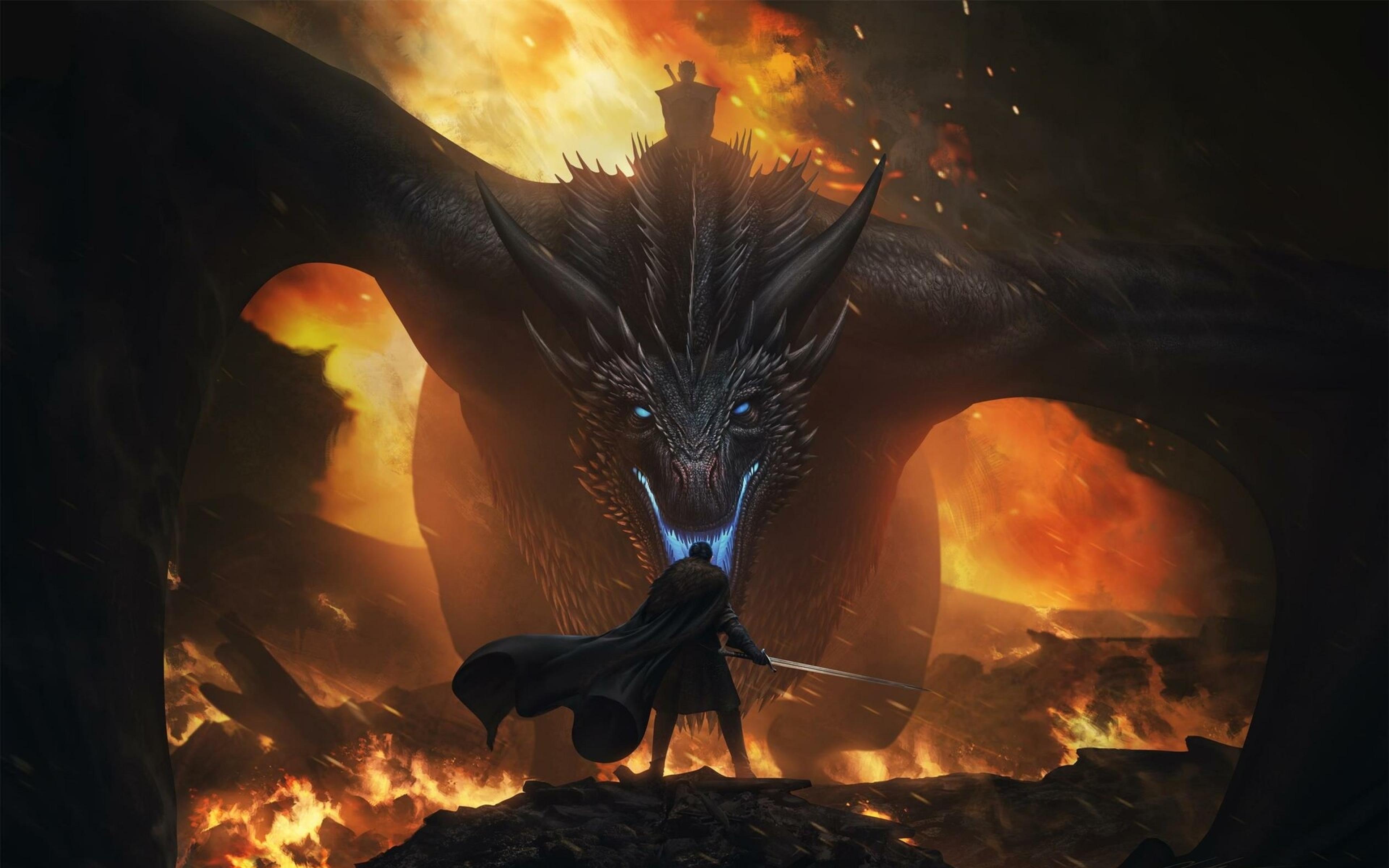 Hd Jon Snow Vs Night King Dragon 3840×2400 - Dragon Game Of Thrones Wallpaper 4k - HD Wallpaper