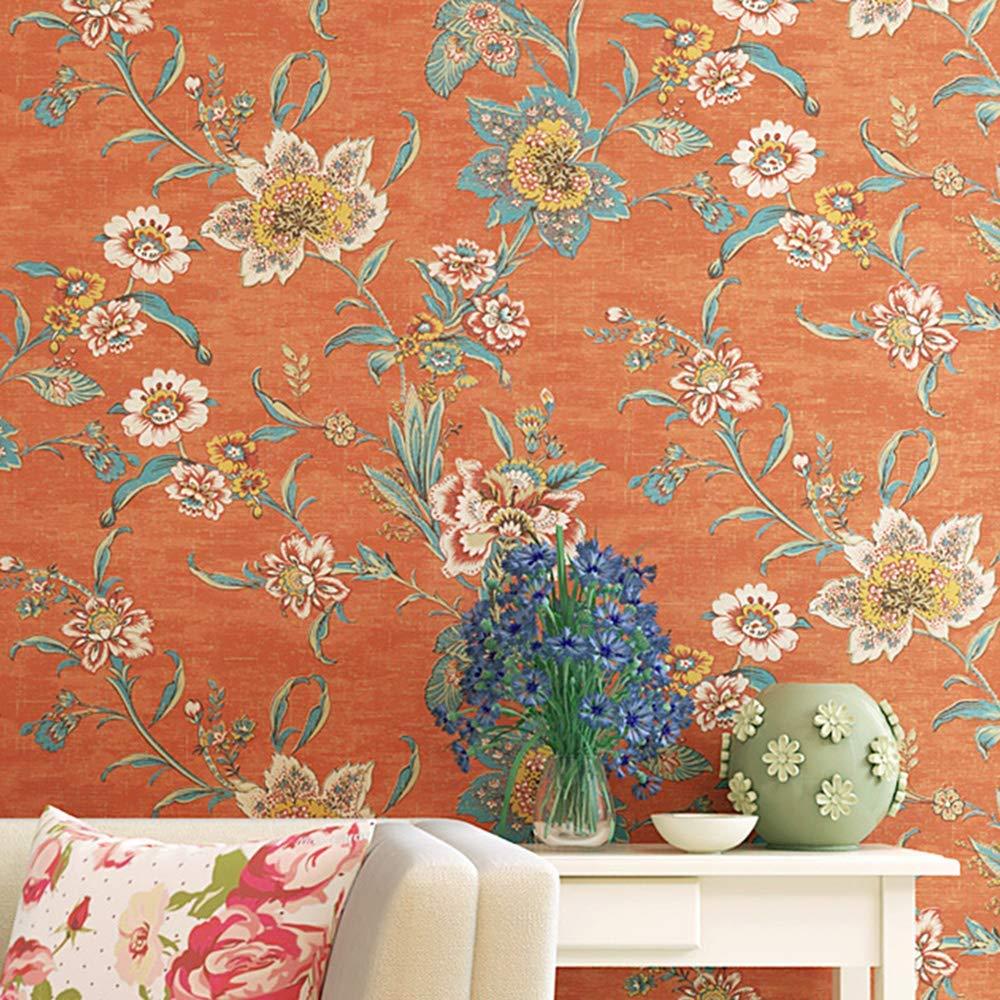 Orange Vintage Floral Contact Paper Retro 70s Country - Vintage Floral Wall Paper - HD Wallpaper