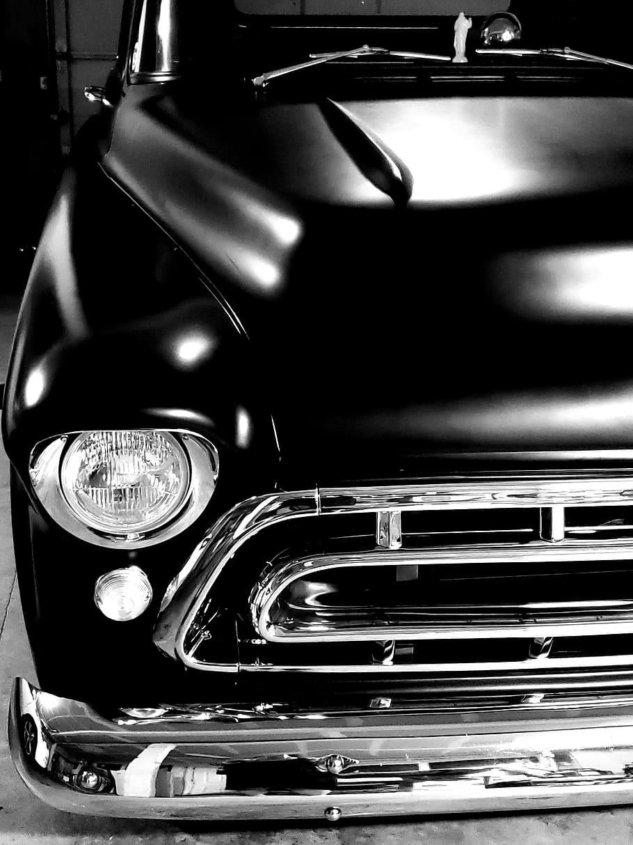 Chevy, Truck, 1957, Black, Classic, Hot Rod, Grill, - Classic Car Home Screen - HD Wallpaper