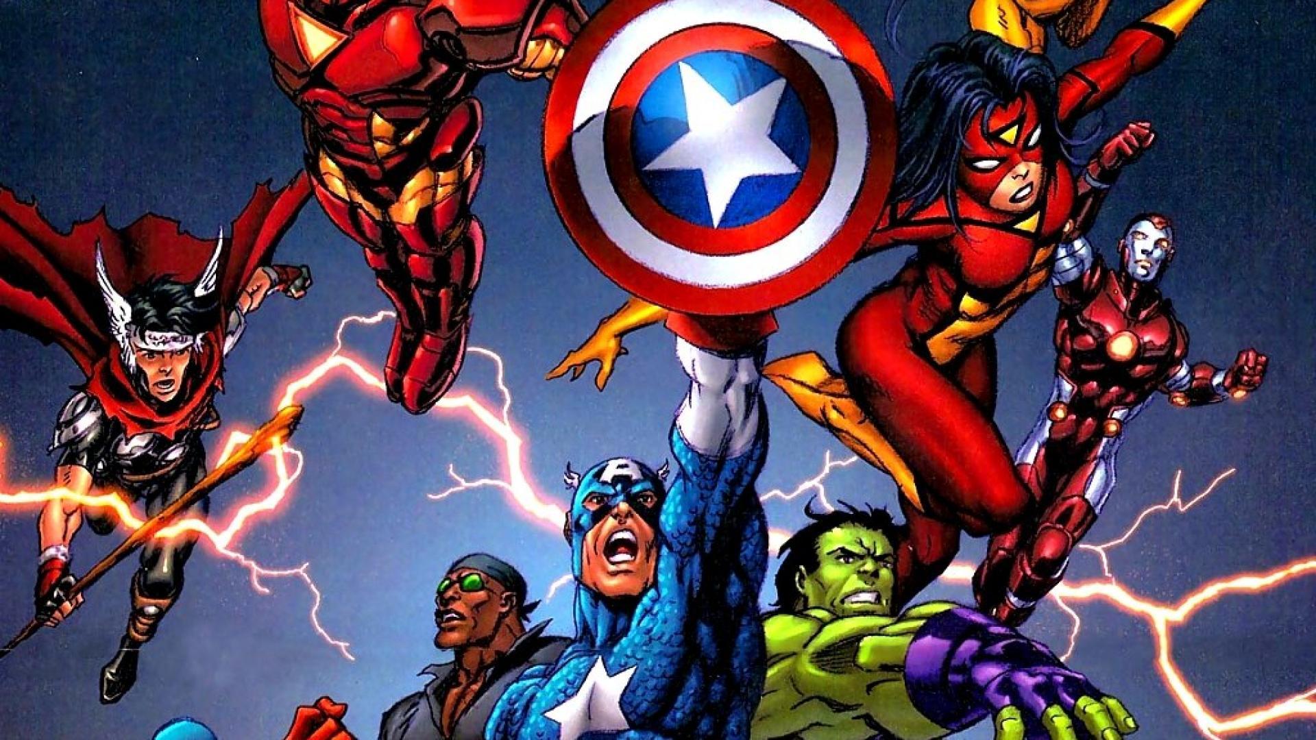 Avengers Cartoon Wall Paper 1920x1080 Wallpaper Teahub Io