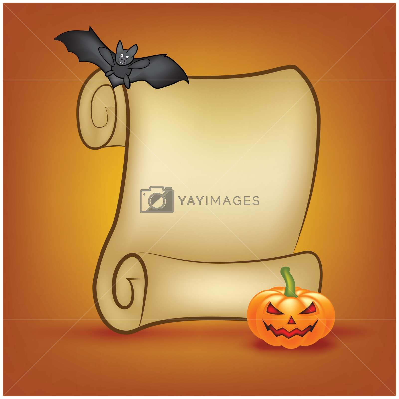 Halloween Banner, Card With Empty Paper Scroll And - Halloween Blank Poster - HD Wallpaper