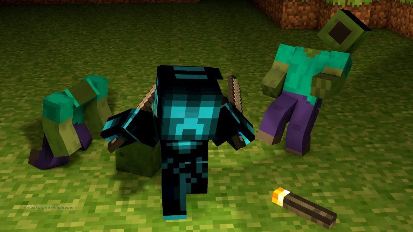 Amazing Minecraft Wallpapers - Minecraft Killing A Zombie