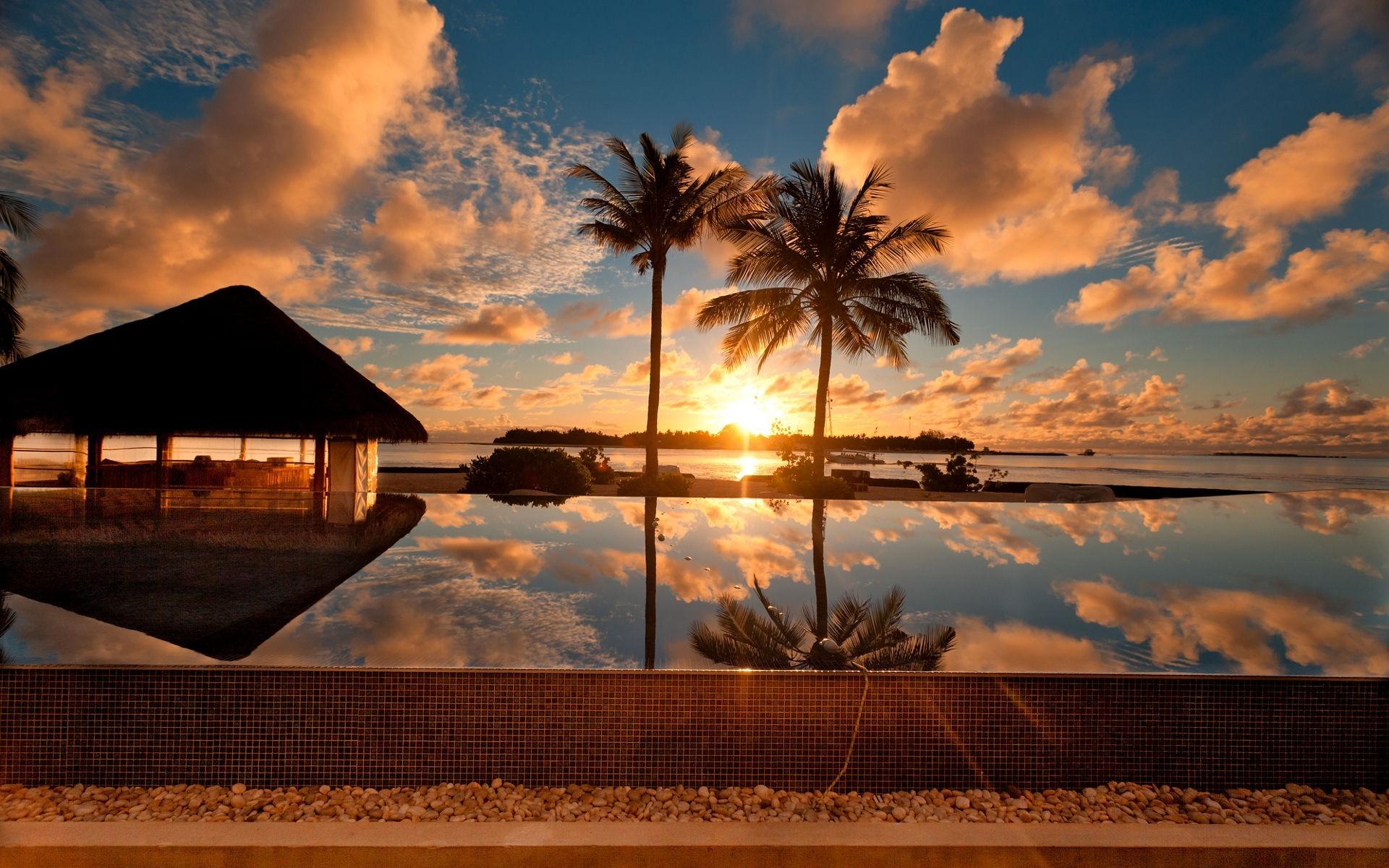 Sunset, At, Palm, Beach, Nature, Beautiful, Desktop, - Sunset On Beach Hd - HD Wallpaper