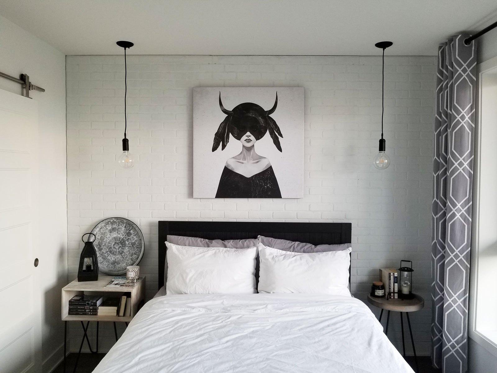 White Faux Brick Wall Bedroom - HD Wallpaper