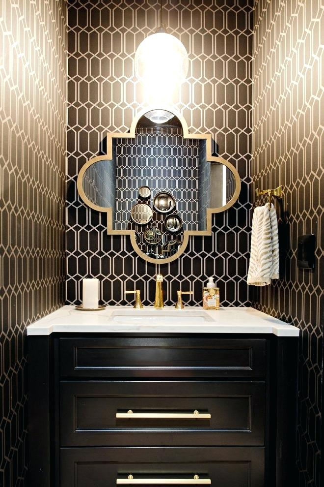 Powder Room Wallpaper Bathroom Vanity Lighting Transitional Black And Gold Wallpaper Powder Room 660x990 Wallpaper Teahub Io