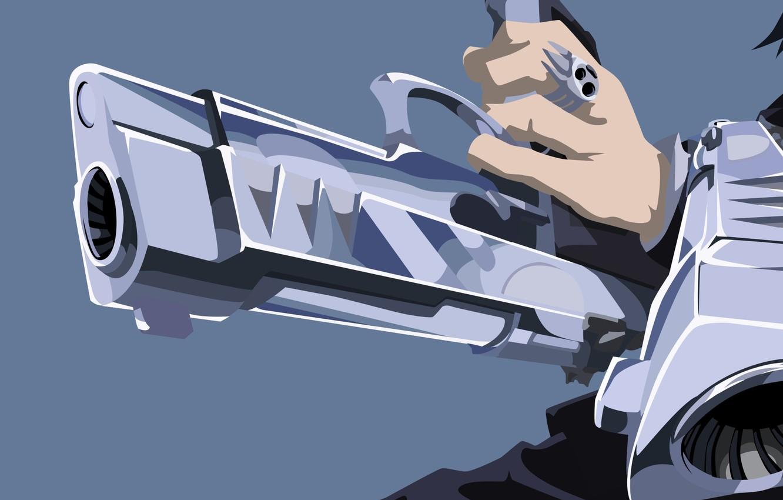 Photo Wallpaper Wallpaper, Sake, Gun, Blood, Pistol, - Anime Boy With Gun Wallpaper Hd - HD Wallpaper