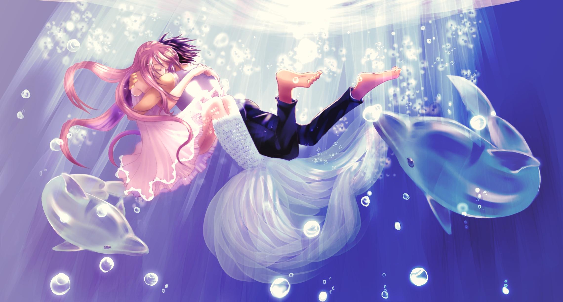 Anime Girl Mermaid And Boy - 8x8 Wallpaper - teahub.io