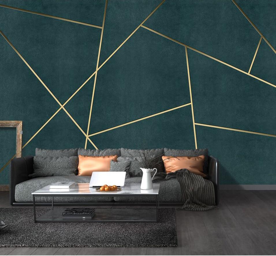 Living Room Geometric Wall Design - HD Wallpaper
