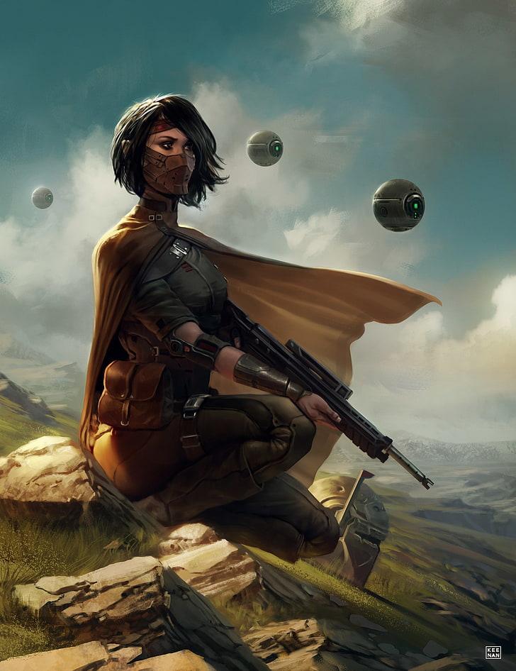Futuristic Gun Girls With Guns Weapon Sky One Star Wars Bounty Hunter Fanart 728x946 Wallpaper Teahub Io