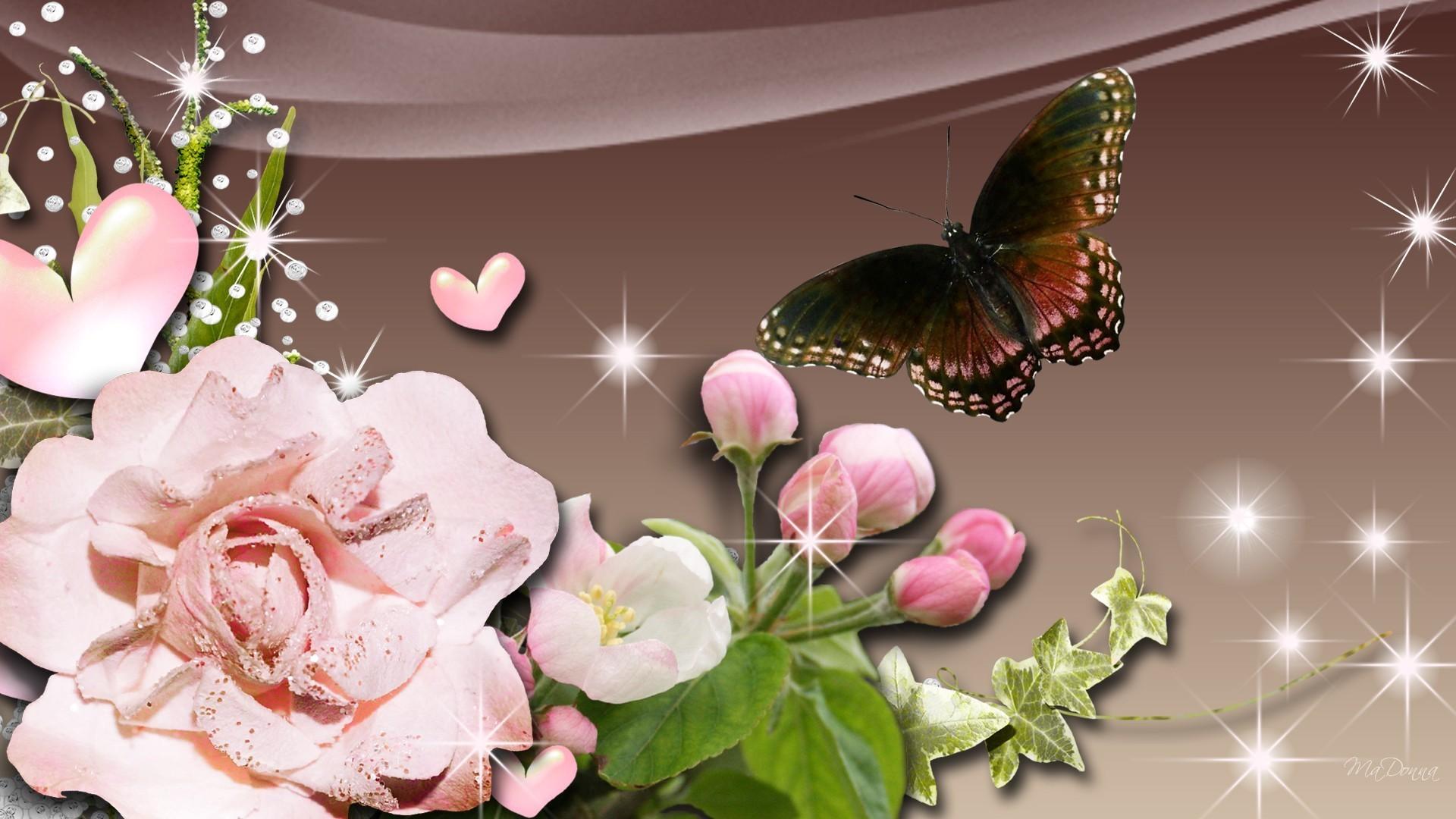 Ivy Persona Glow Diamonds Summer Butterfly Pink Hearts - Garden Roses - HD Wallpaper