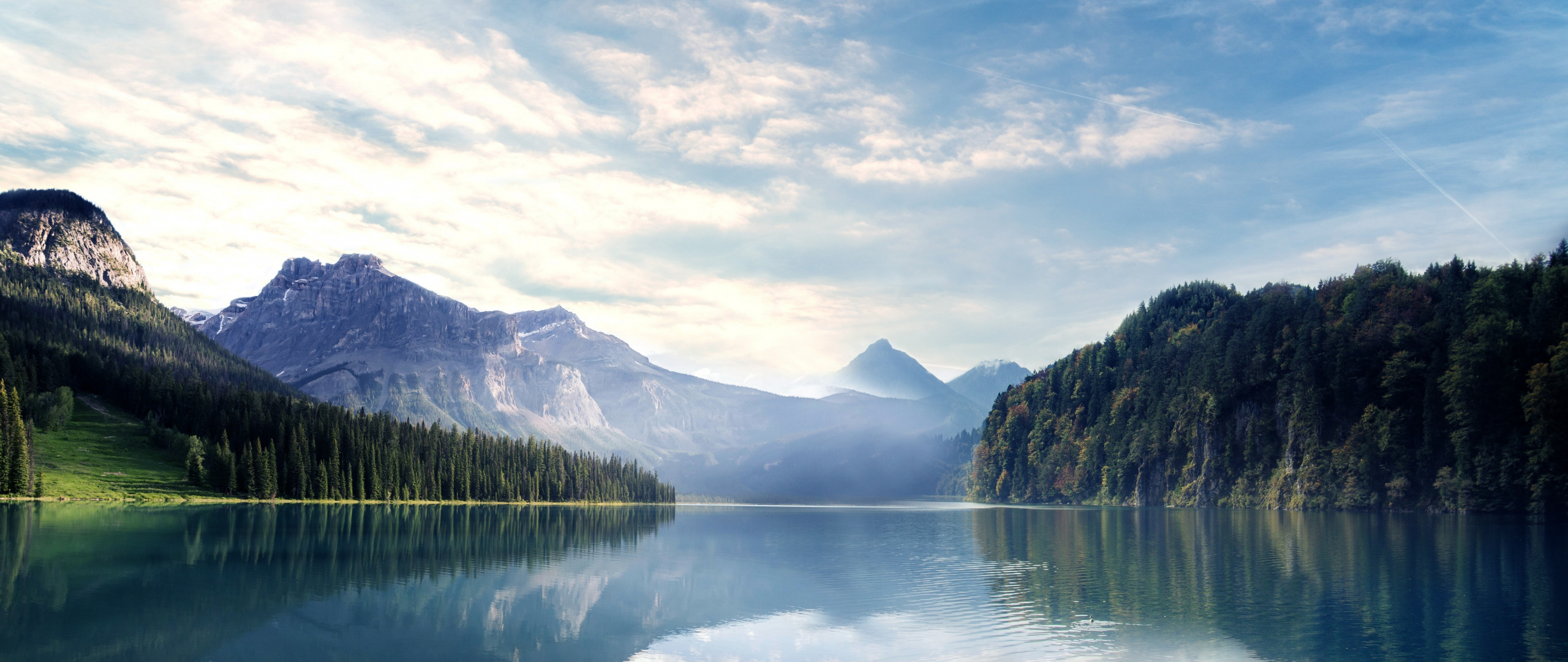Lake, Nature, Mountains, Forest, Sky, Trees, Wallpaper - Mountains And Forest Hd - HD Wallpaper